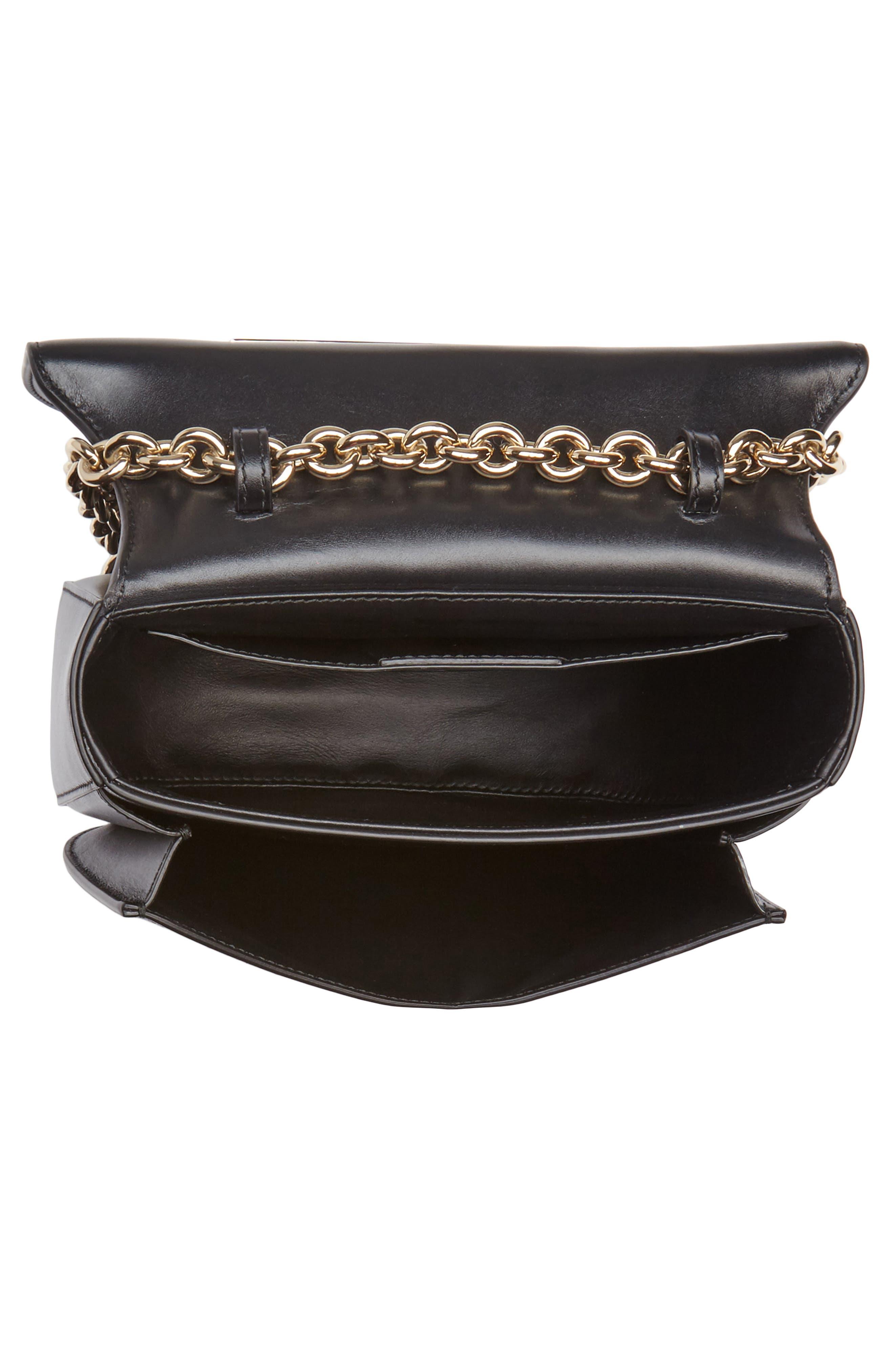 Leather Crossbody Bag,                             Alternate thumbnail 4, color,                             Nero