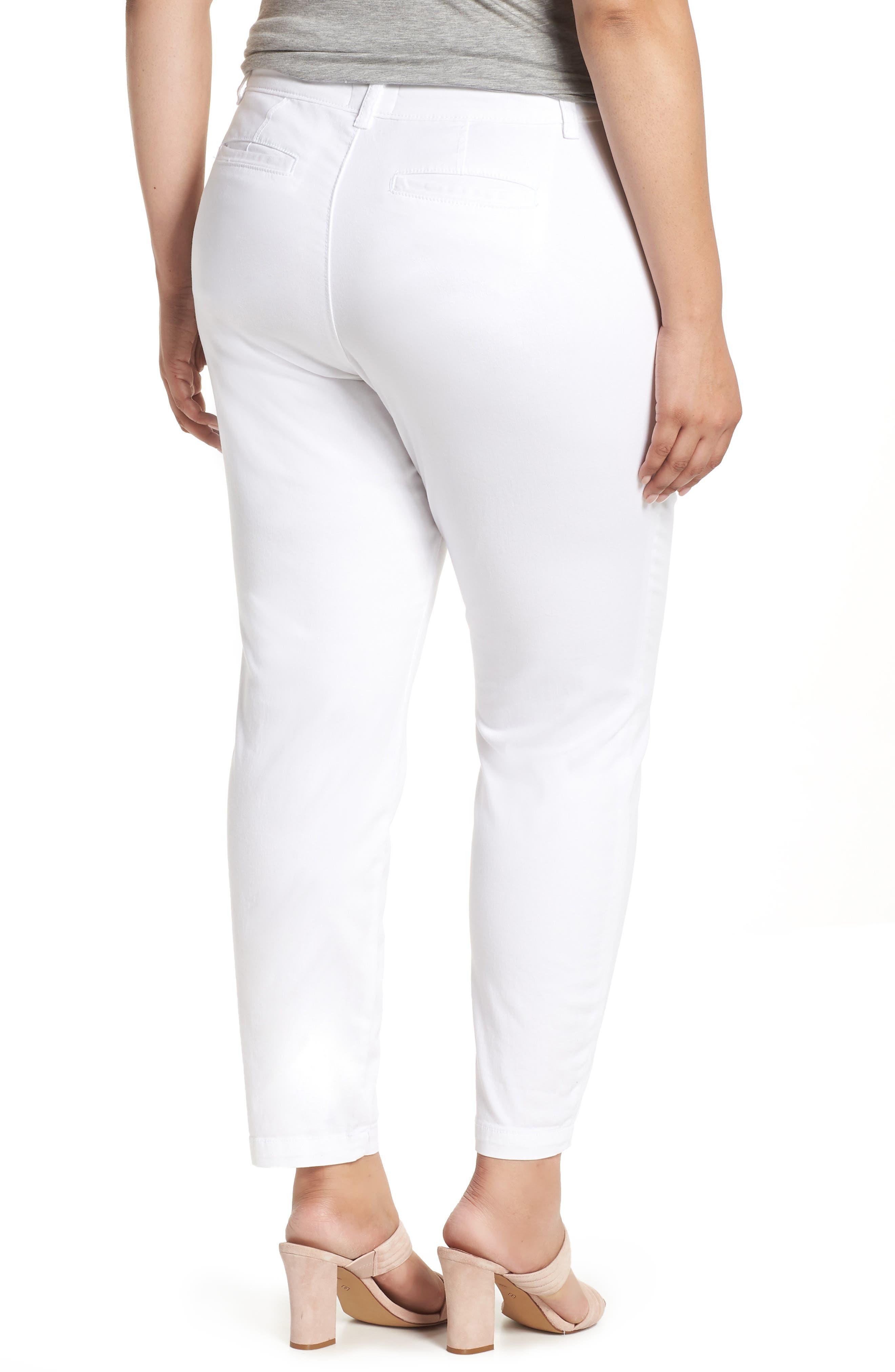 Boyfriend Stretch Cotton Chino Pants,                             Alternate thumbnail 2, color,                             White