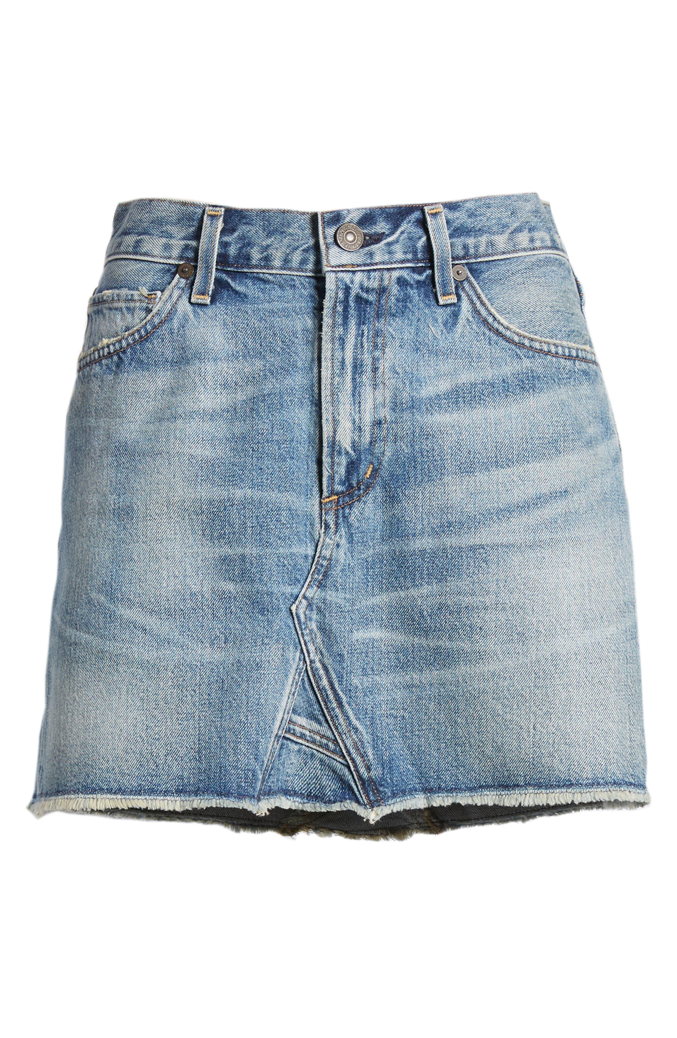 Cutoff Denim Miniskirt,                             Alternate thumbnail 7, color,                             Freebird