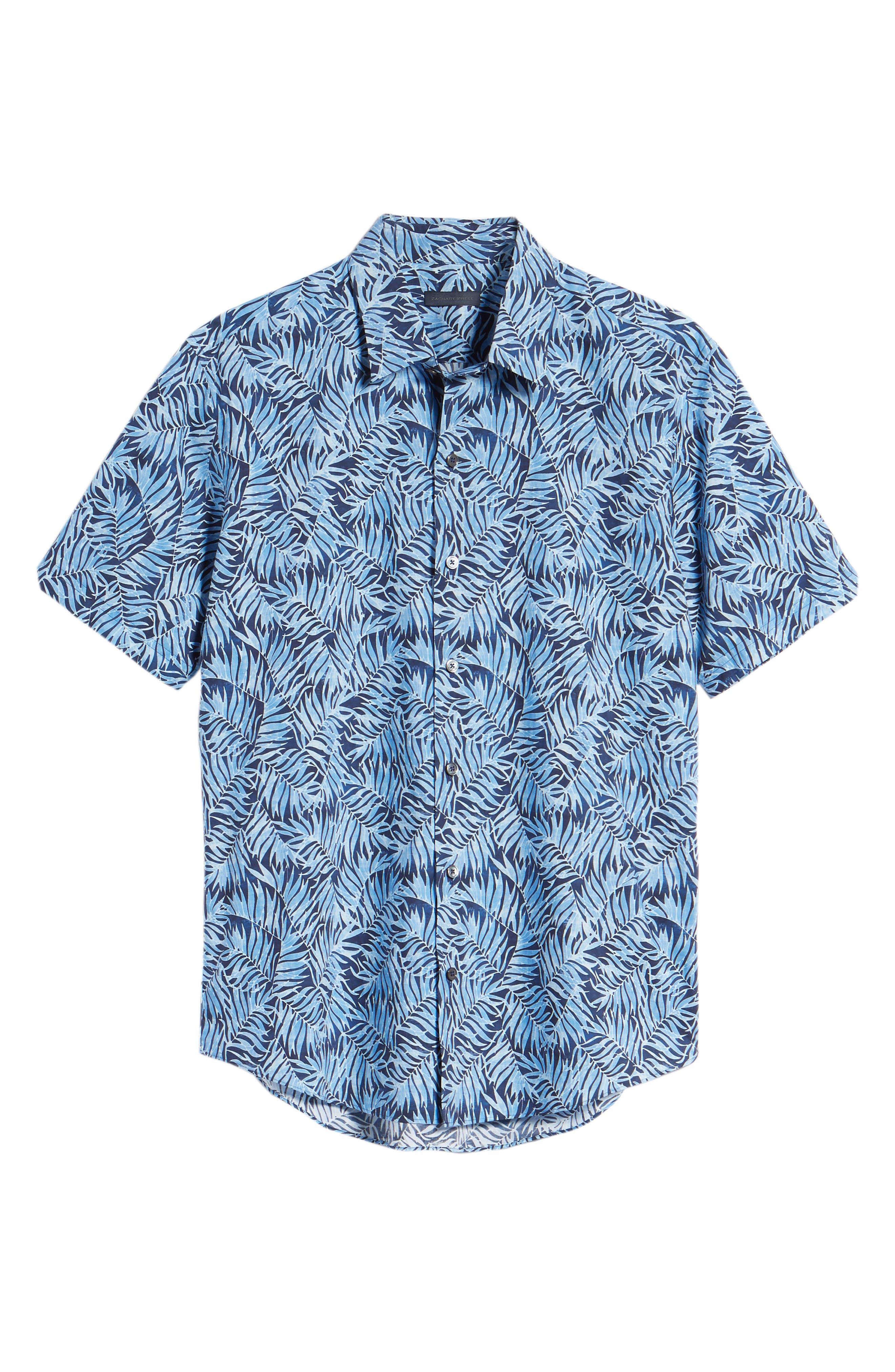 Slack Palm Print Sport Shirt,                             Alternate thumbnail 6, color,                             Navy