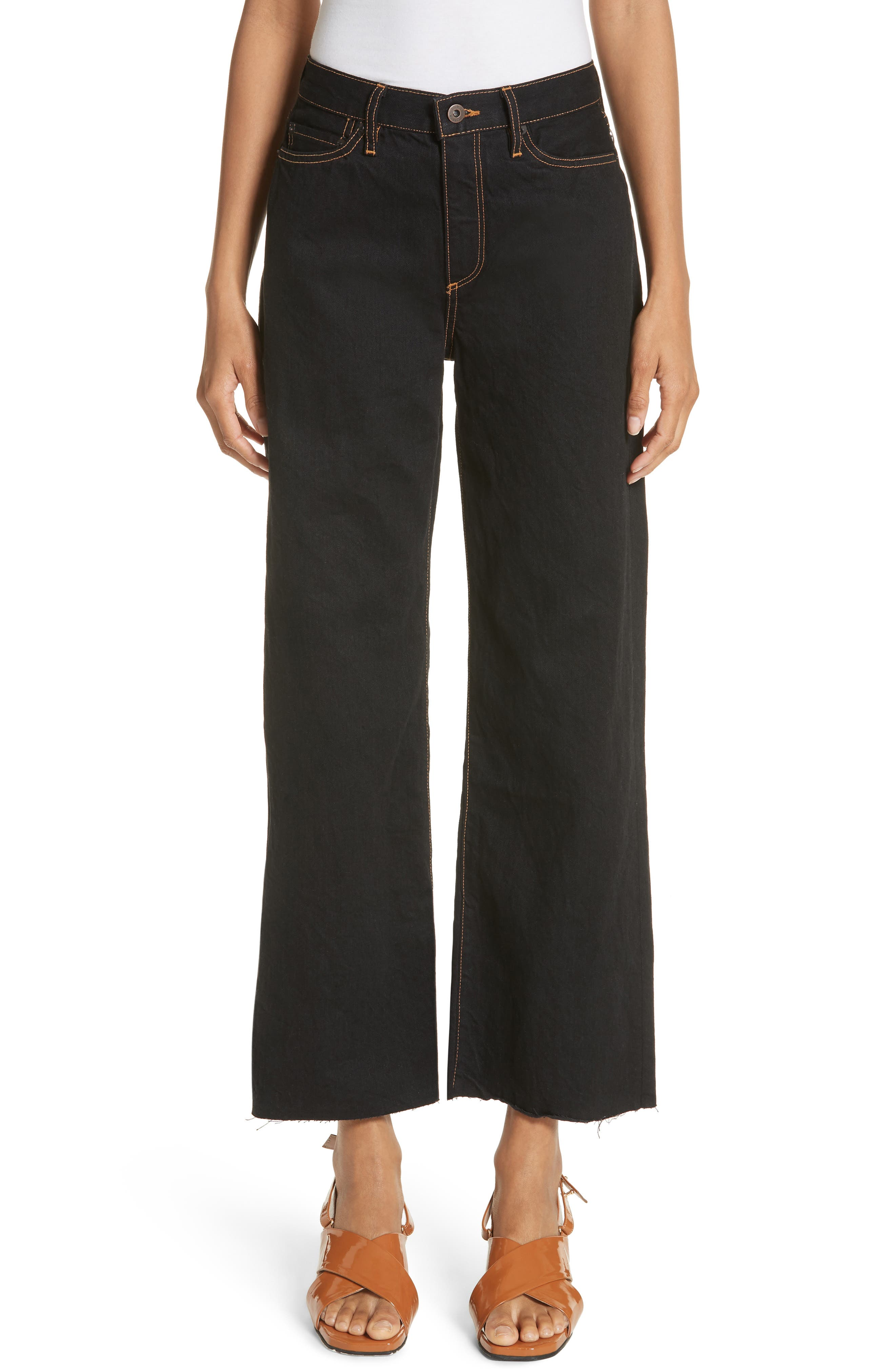 Dever Contrast Stitch Wide Leg Jeans,                         Main,                         color, Black