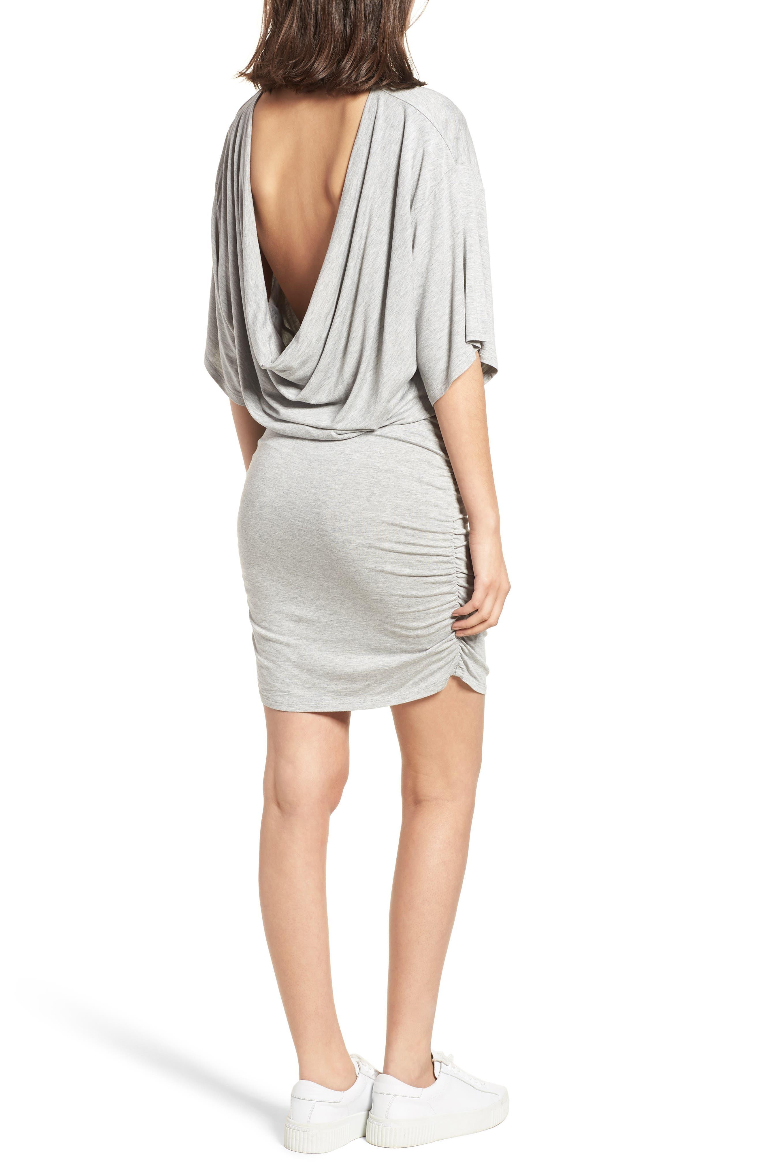 Open Back T-Shirt Dress,                             Alternate thumbnail 2, color,                             Heather Grey