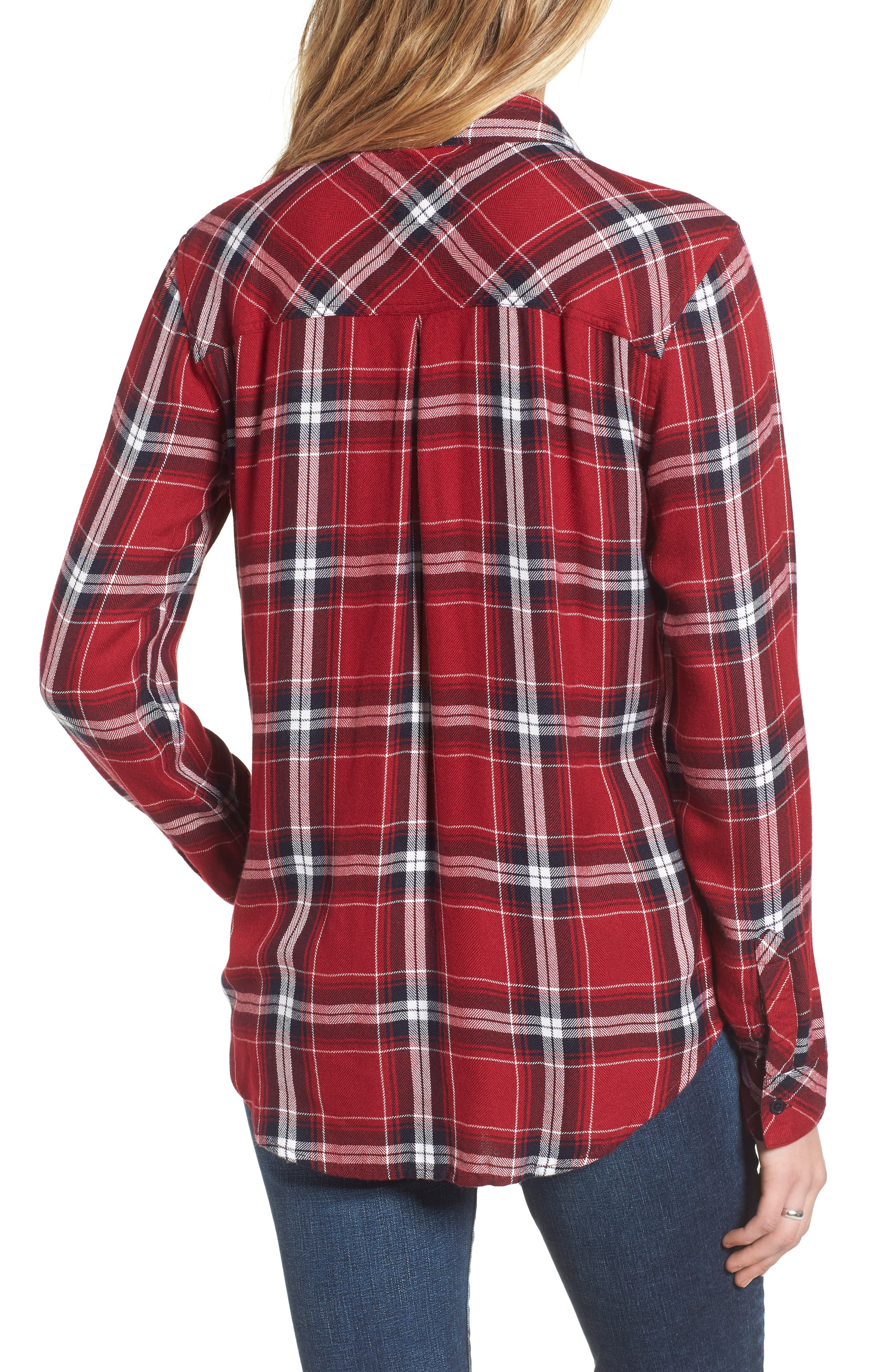 Hunter Plaid Shirt,                             Alternate thumbnail 2, color,                             Cranberry Ink White