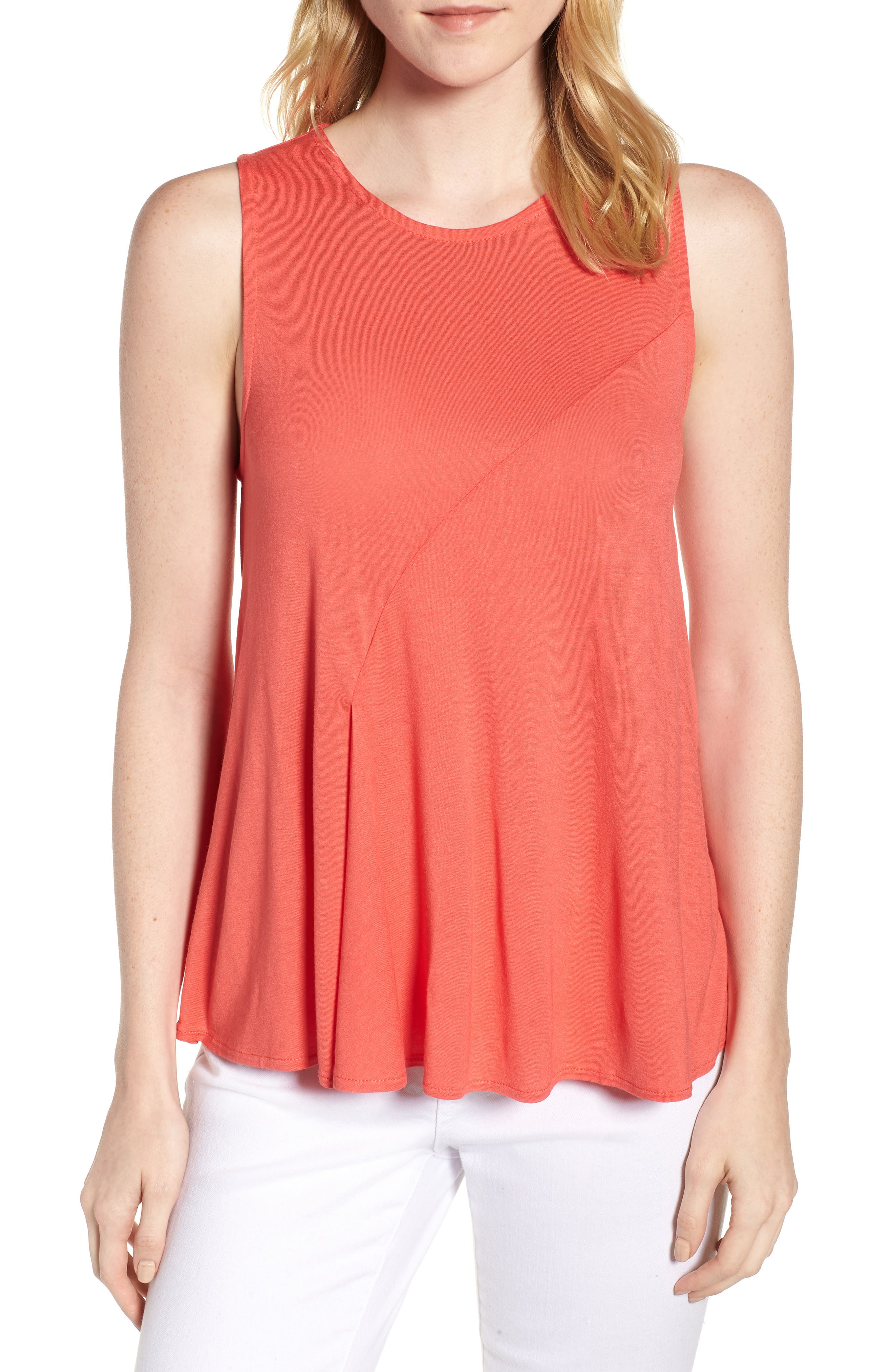 J.Crew Pleated Swing Tank Top,                             Main thumbnail 1, color,                             Coral