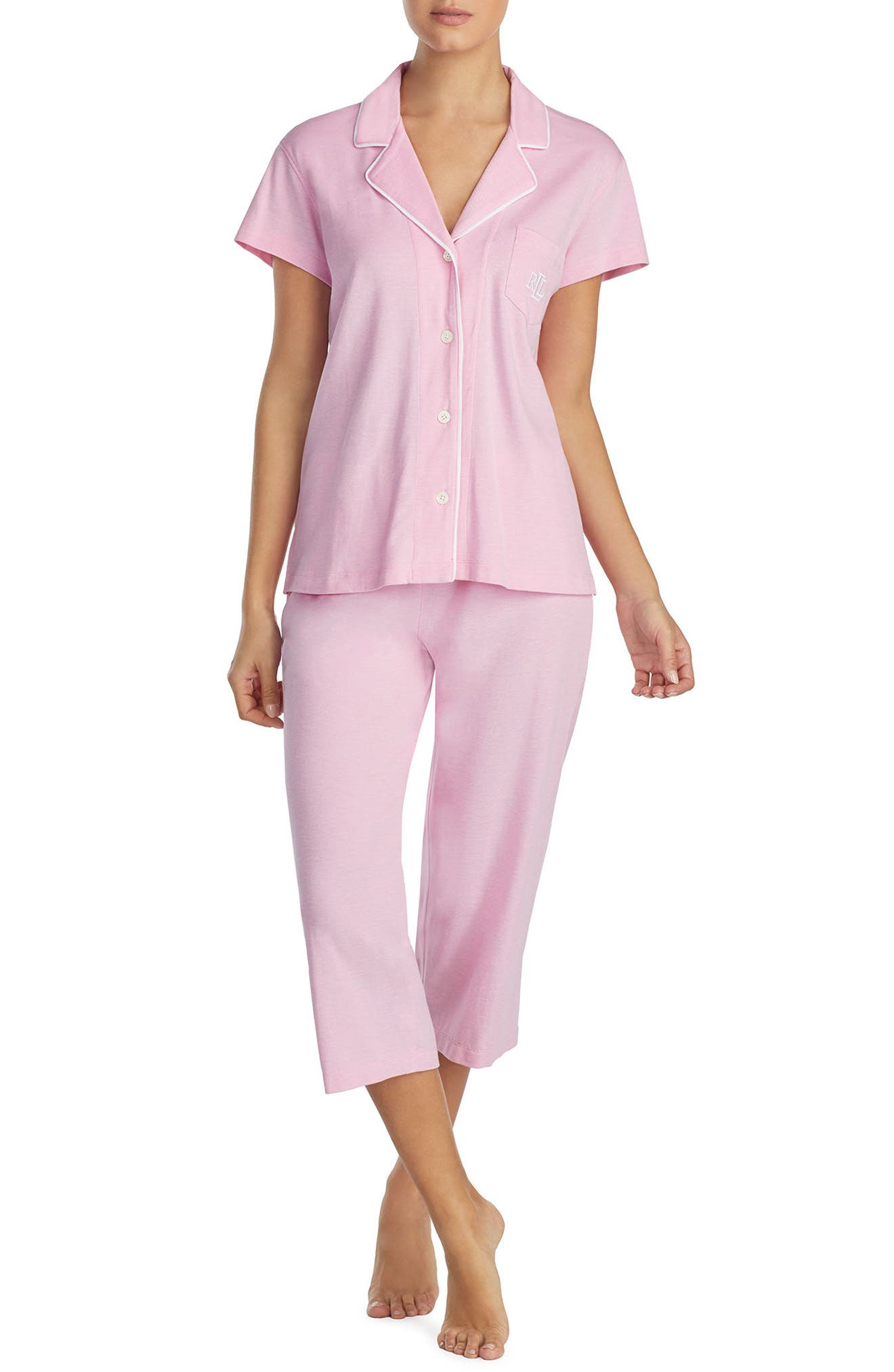 Knit Capri Pajamas,                         Main,                         color, Pink