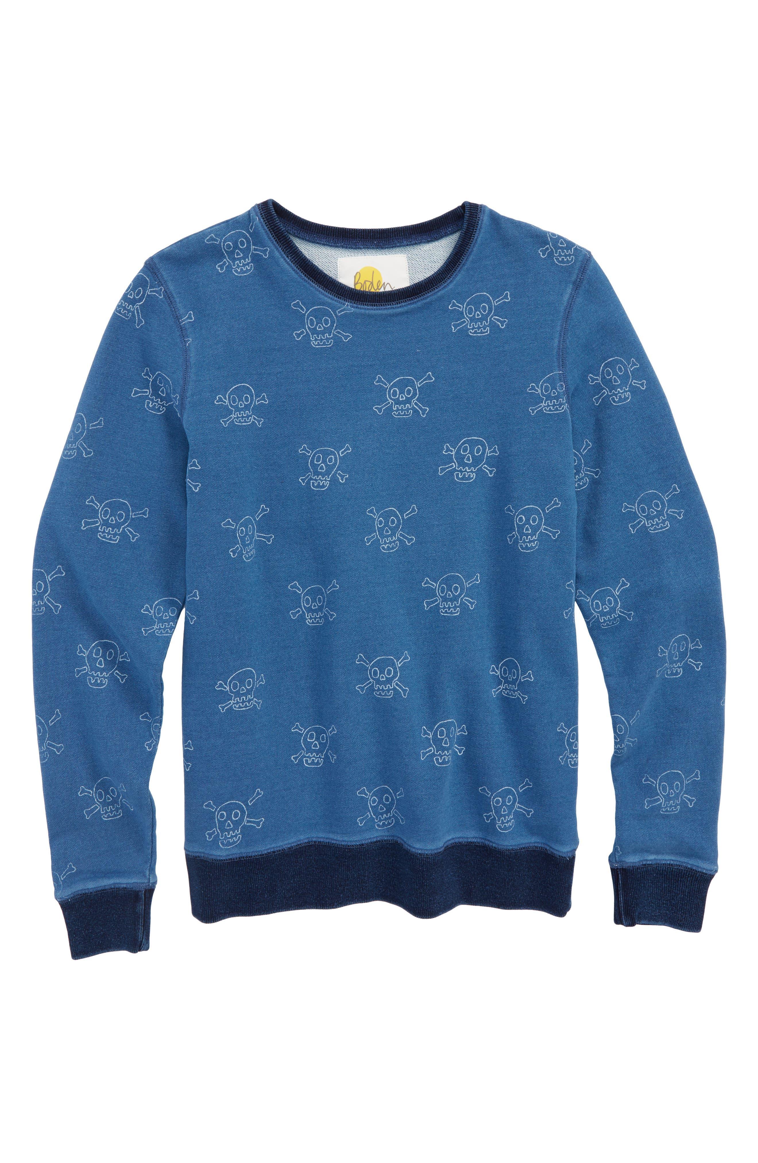 Castaway Skulls Sweatshirt,                             Main thumbnail 1, color,                             Mid Indigo Blue Skulls