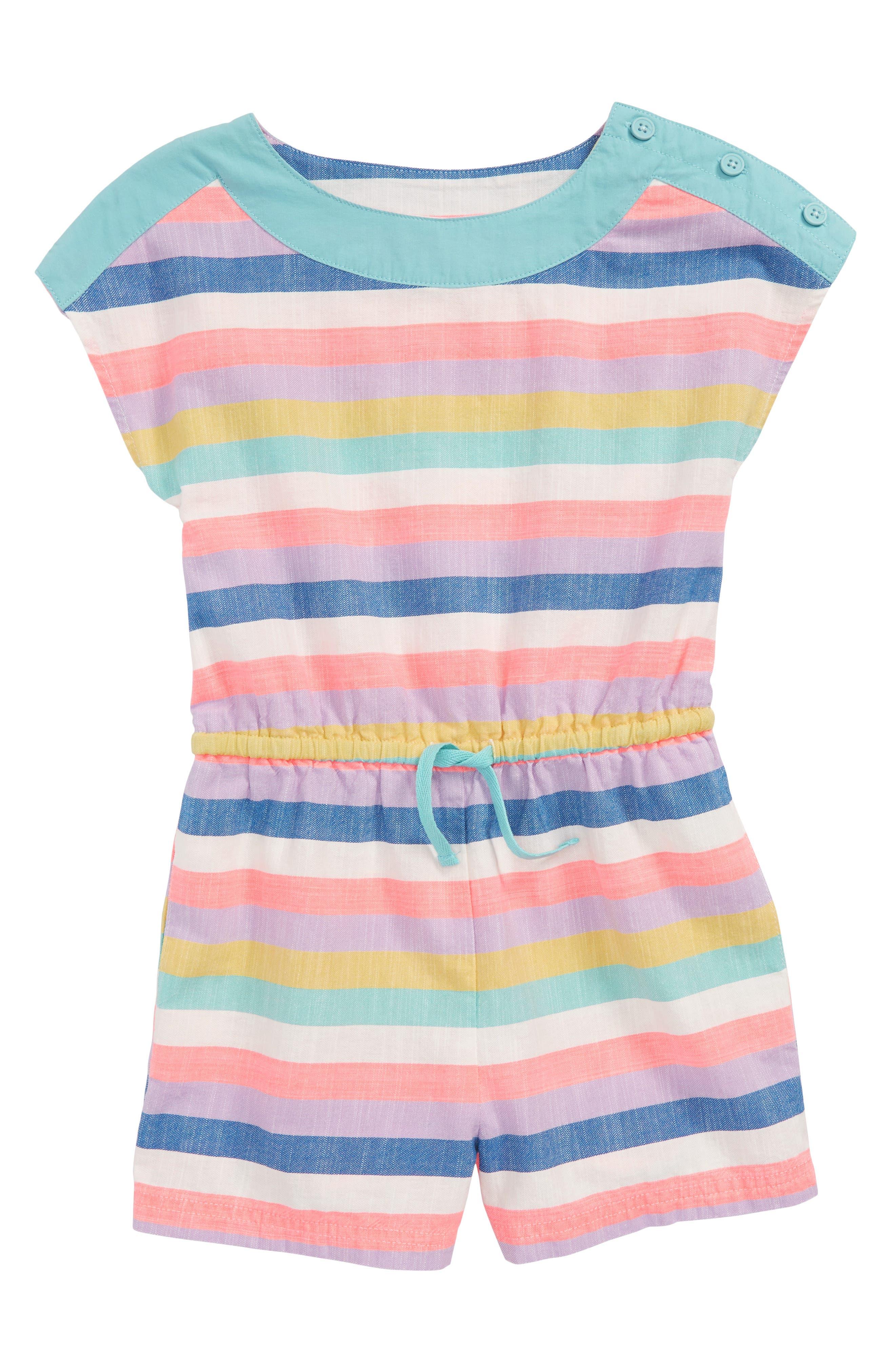 Mini Boden Stripe Romper (Toddler Girls, Little Girls & Big Girls)