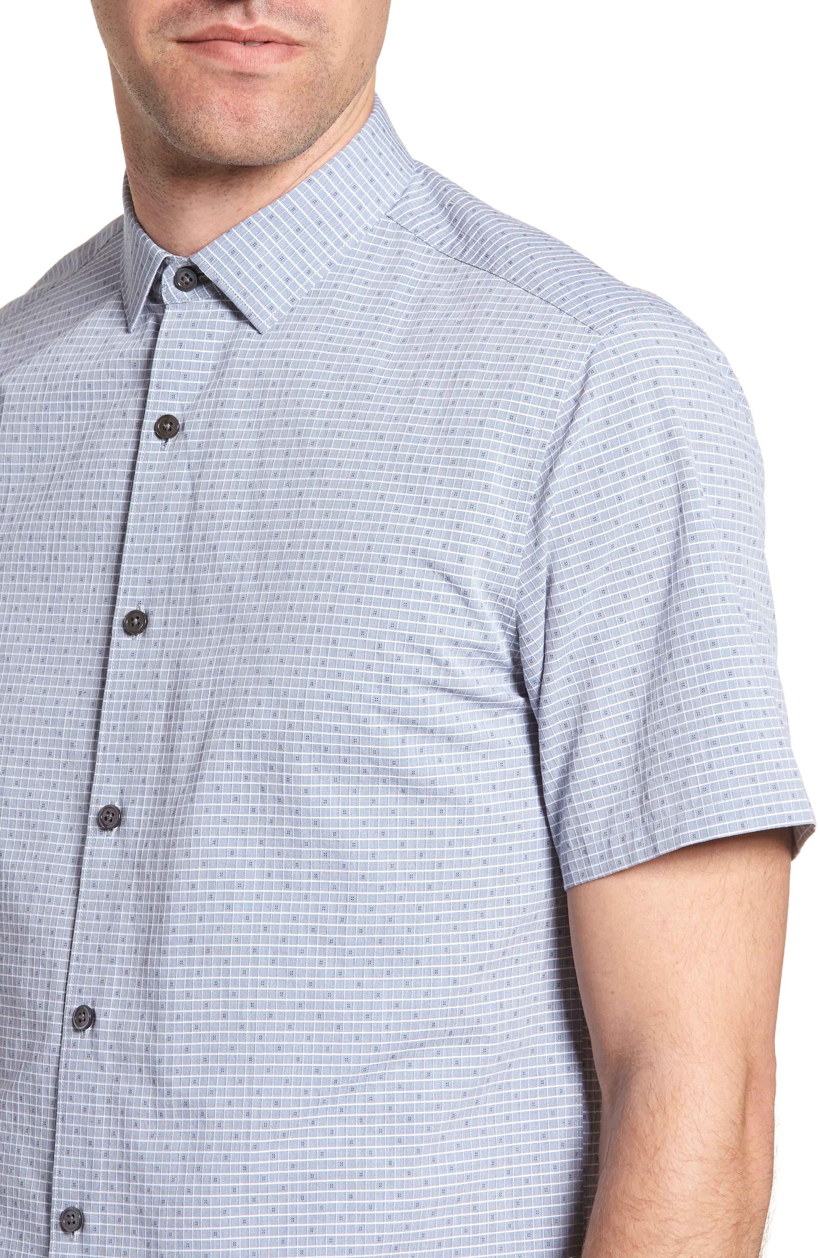Murray Trim Fit Check Short Sleeve Sport Shirt,                             Alternate thumbnail 4, color,                             Eclipse Multi