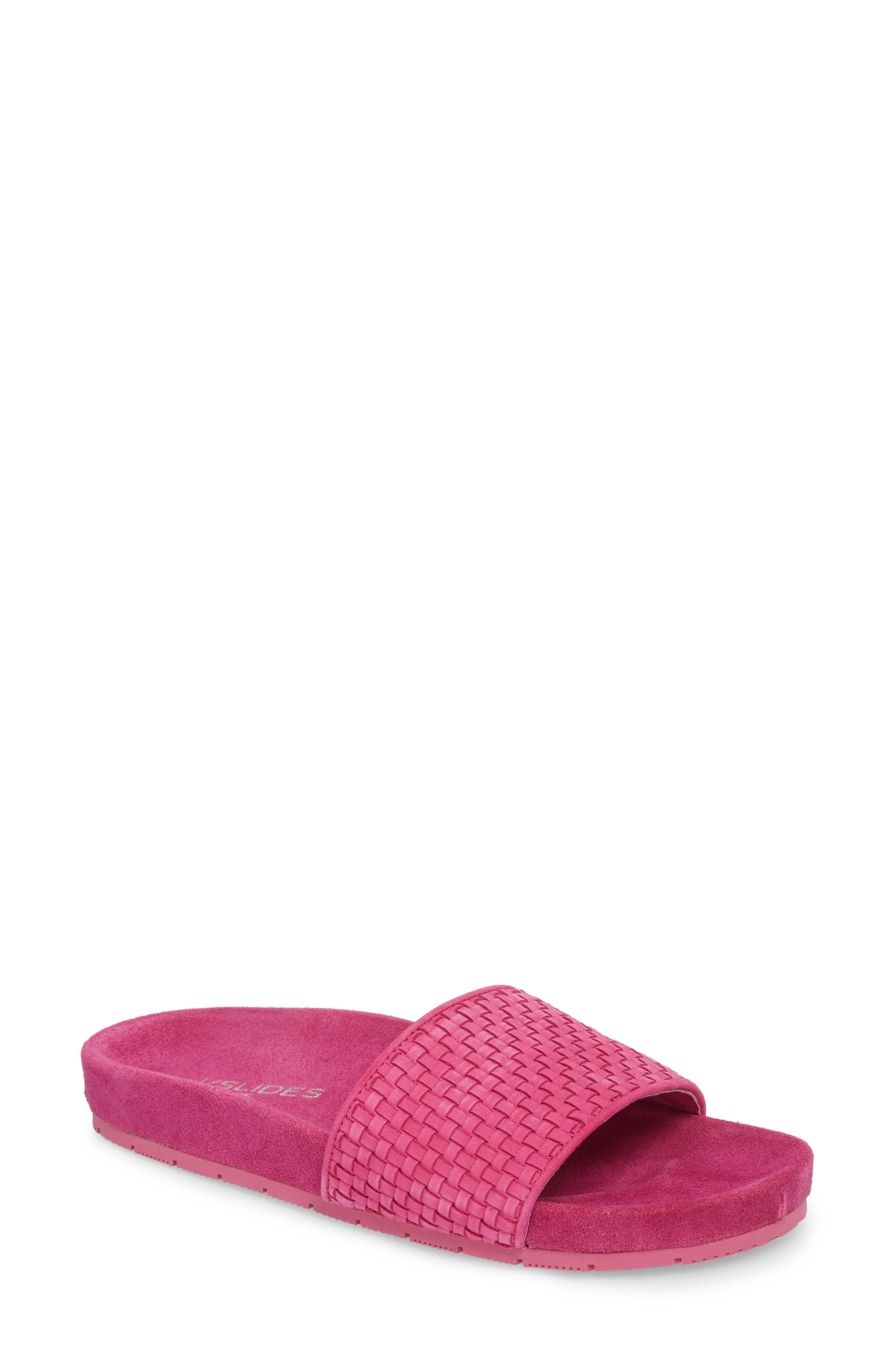 Naomie Slide Sandal,                             Main thumbnail 1, color,                             Magenta Suede