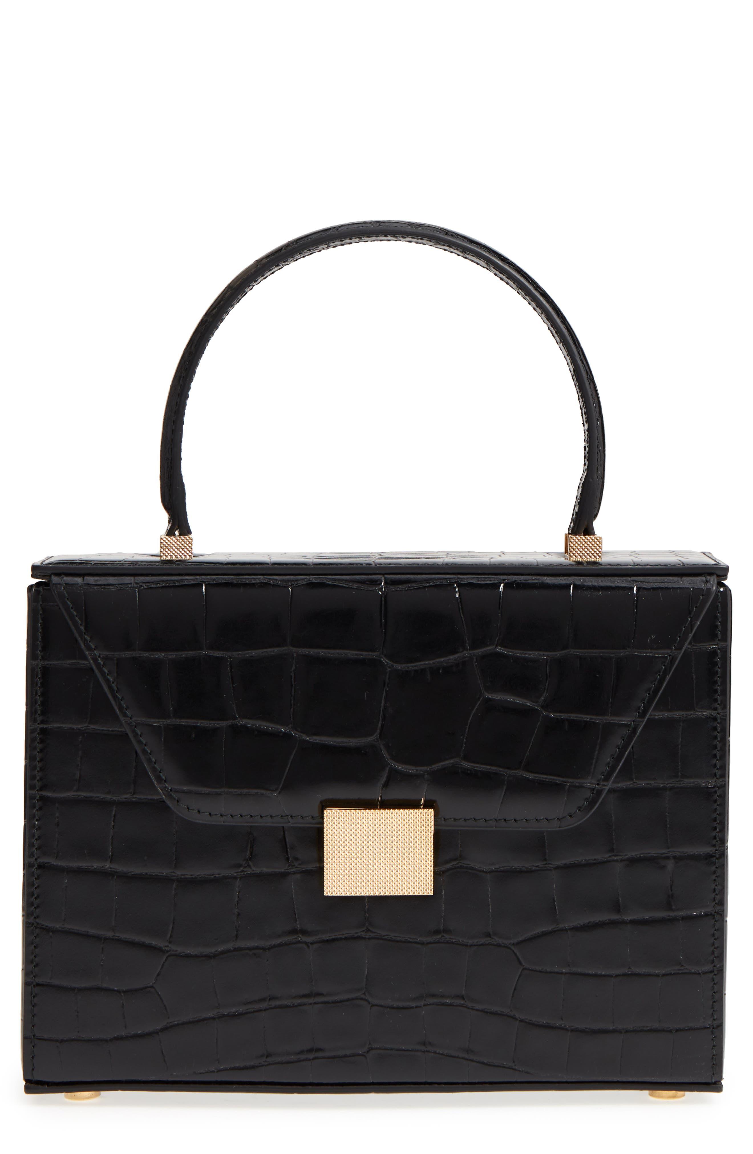 Mini Vanity Top Handle Box Bag,                             Main thumbnail 1, color,                             Black