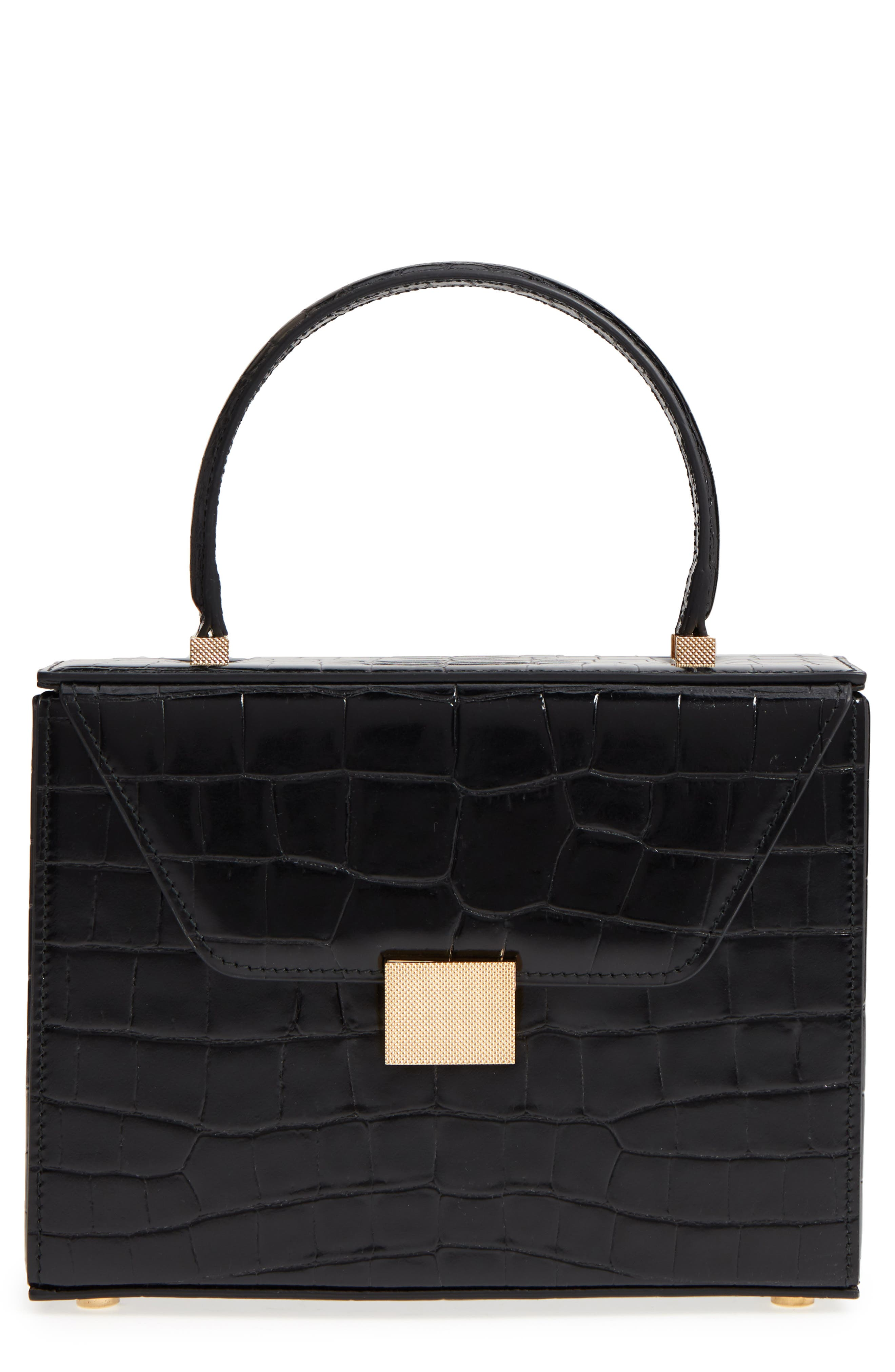 Mini Vanity Top Handle Box Bag,                         Main,                         color, Black