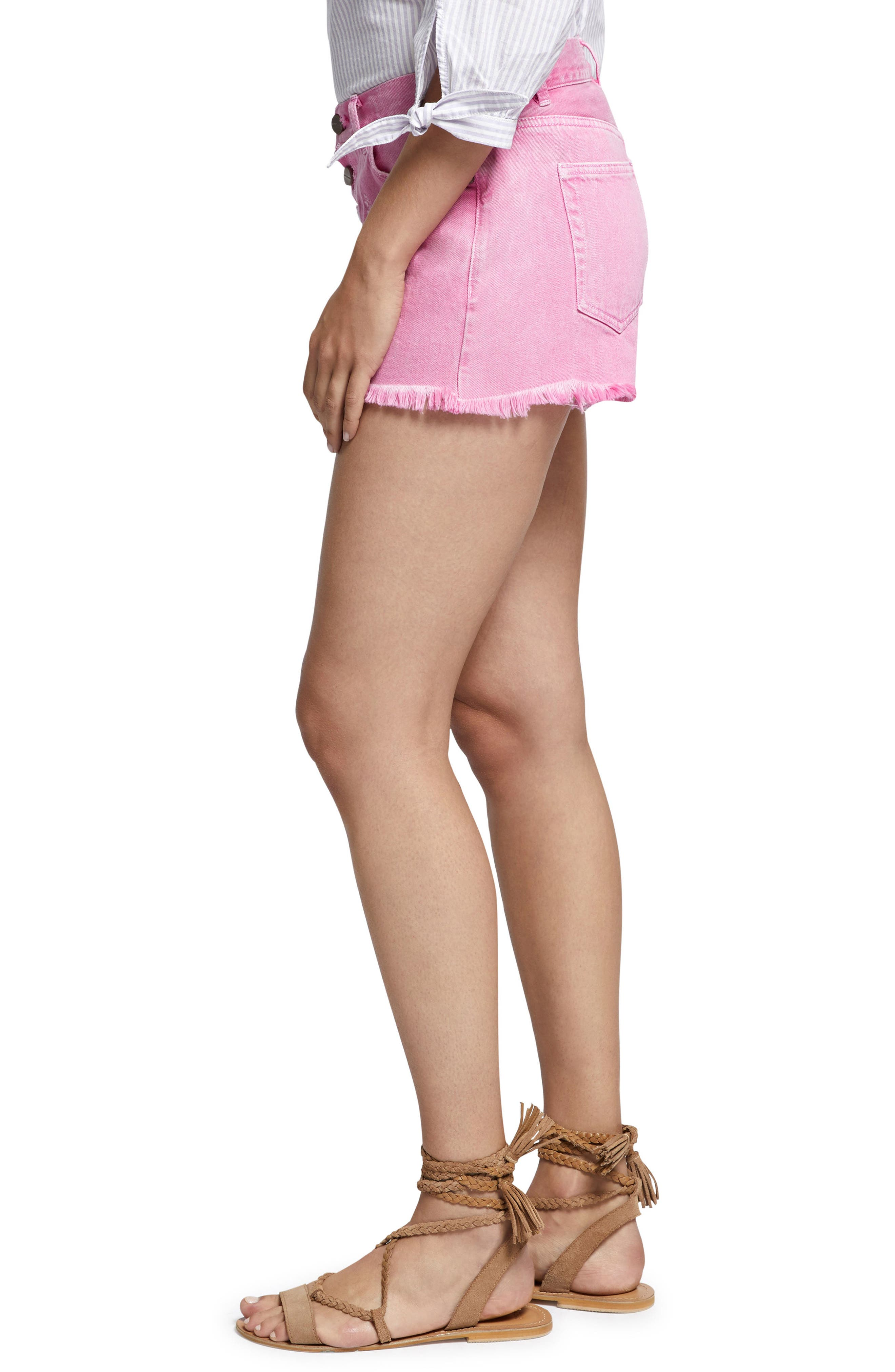 Wild Cherry Fringed Jean Shorts,                             Alternate thumbnail 3, color,                             Washed Wild Cherry
