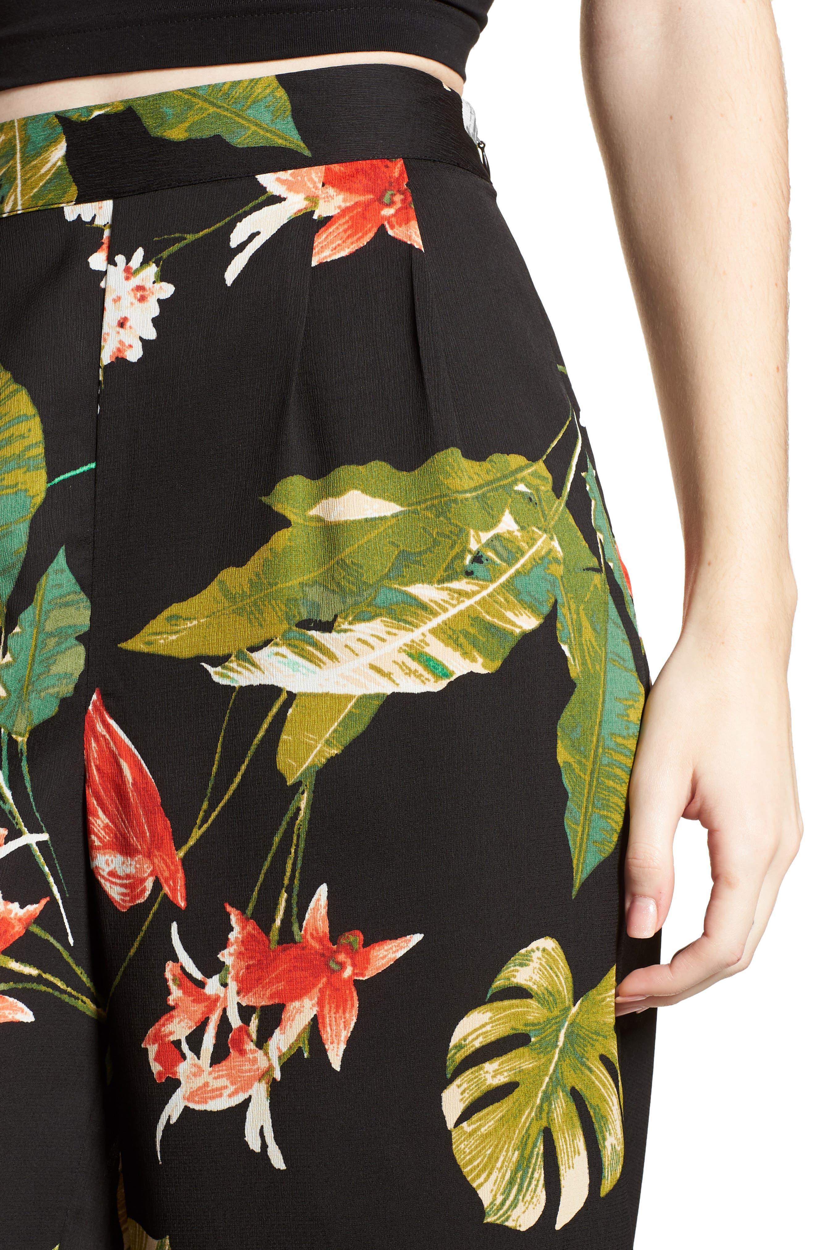 Tropical Print Culottes,                             Alternate thumbnail 6, color,                             Black Multi