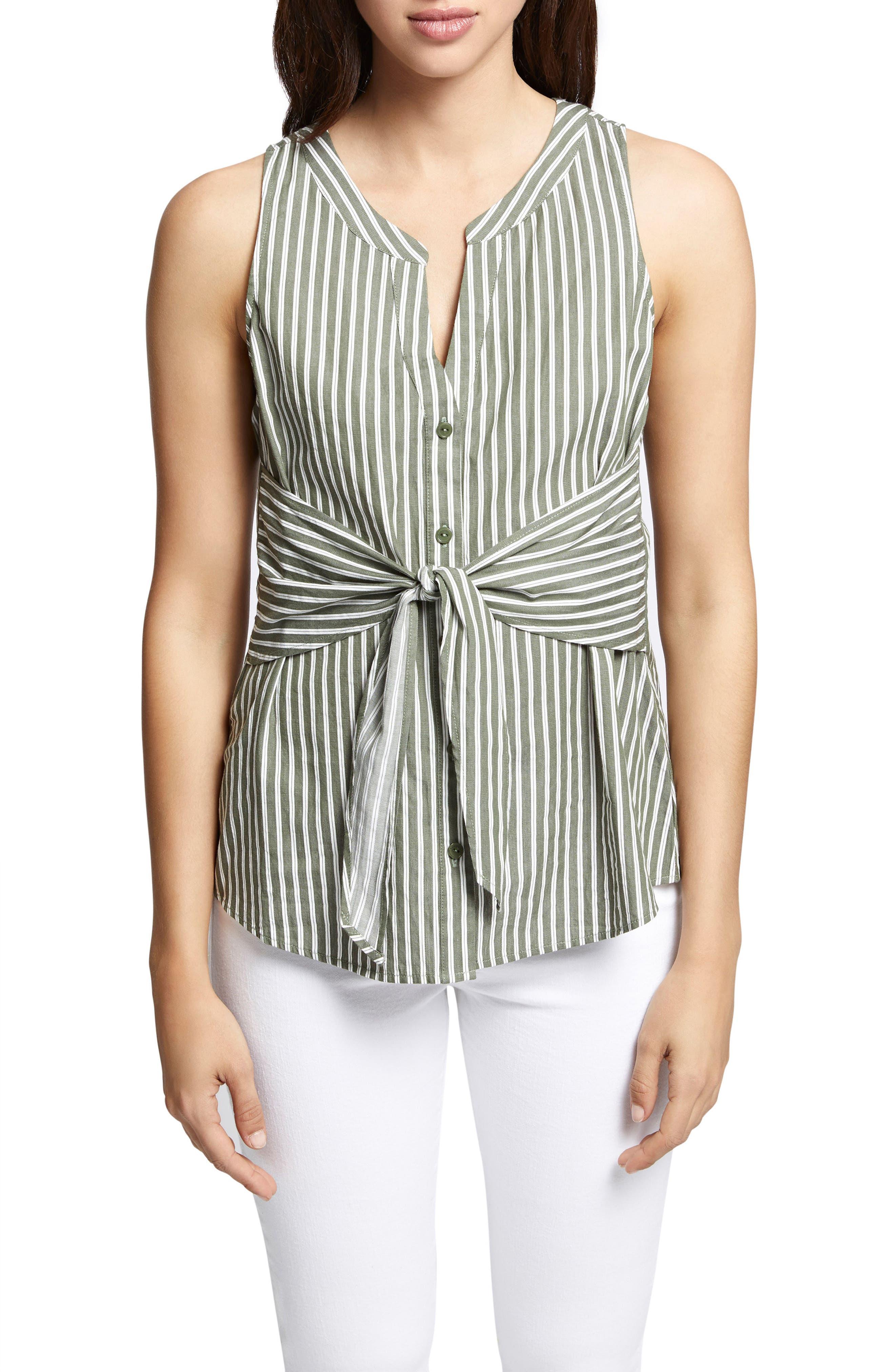 Cara Tie Front Stripe Shell,                         Main,                         color, Cadet Stripe