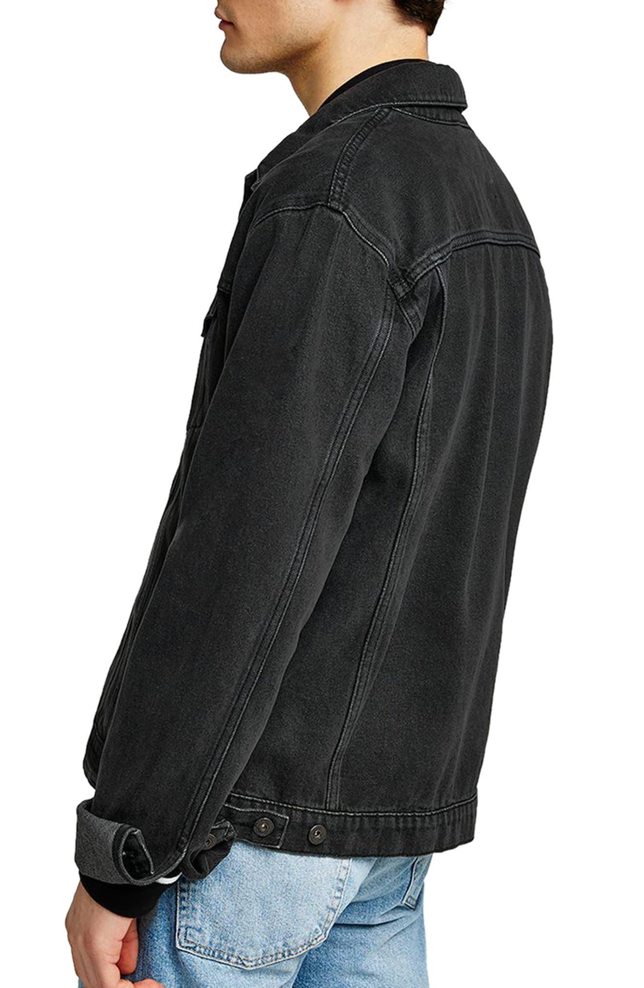 Western Denim Jacket,                             Alternate thumbnail 2, color,                             Black