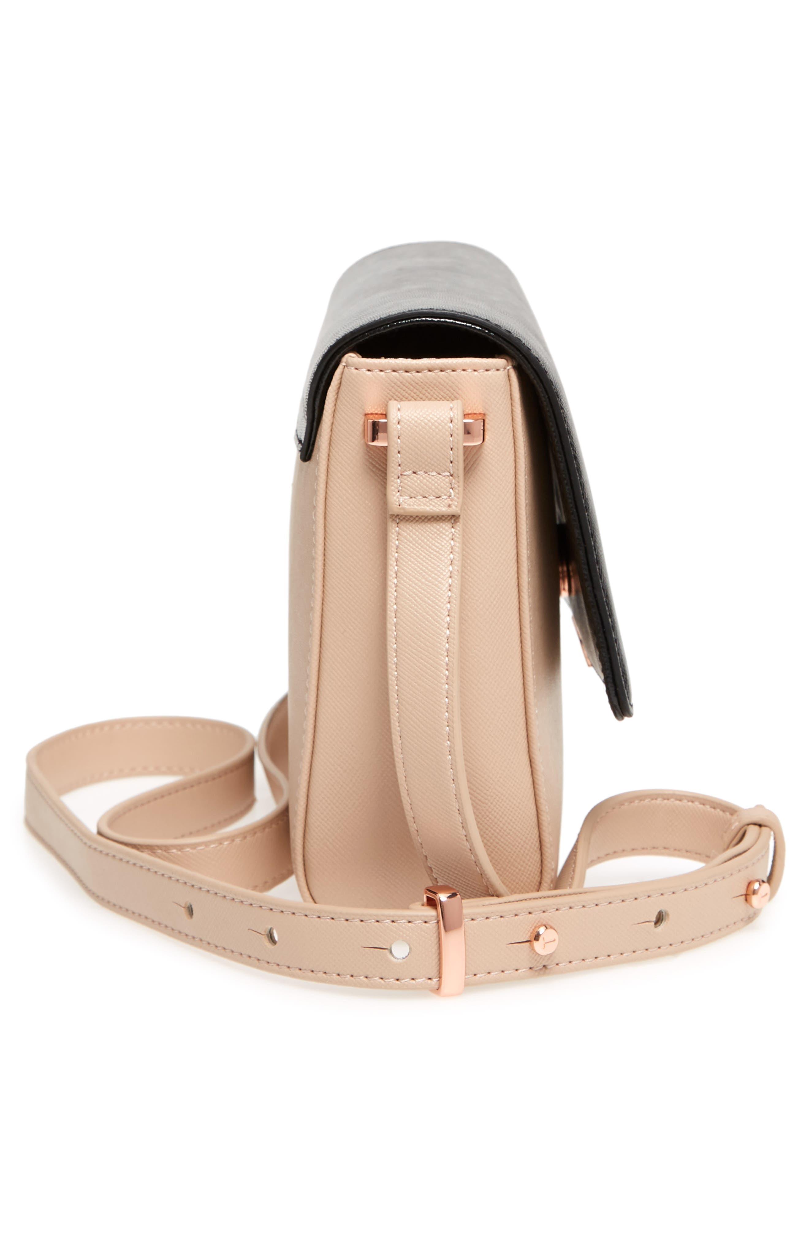 Demonda Faux Leather Crossbody Bag,                             Alternate thumbnail 5, color,                             Taupe