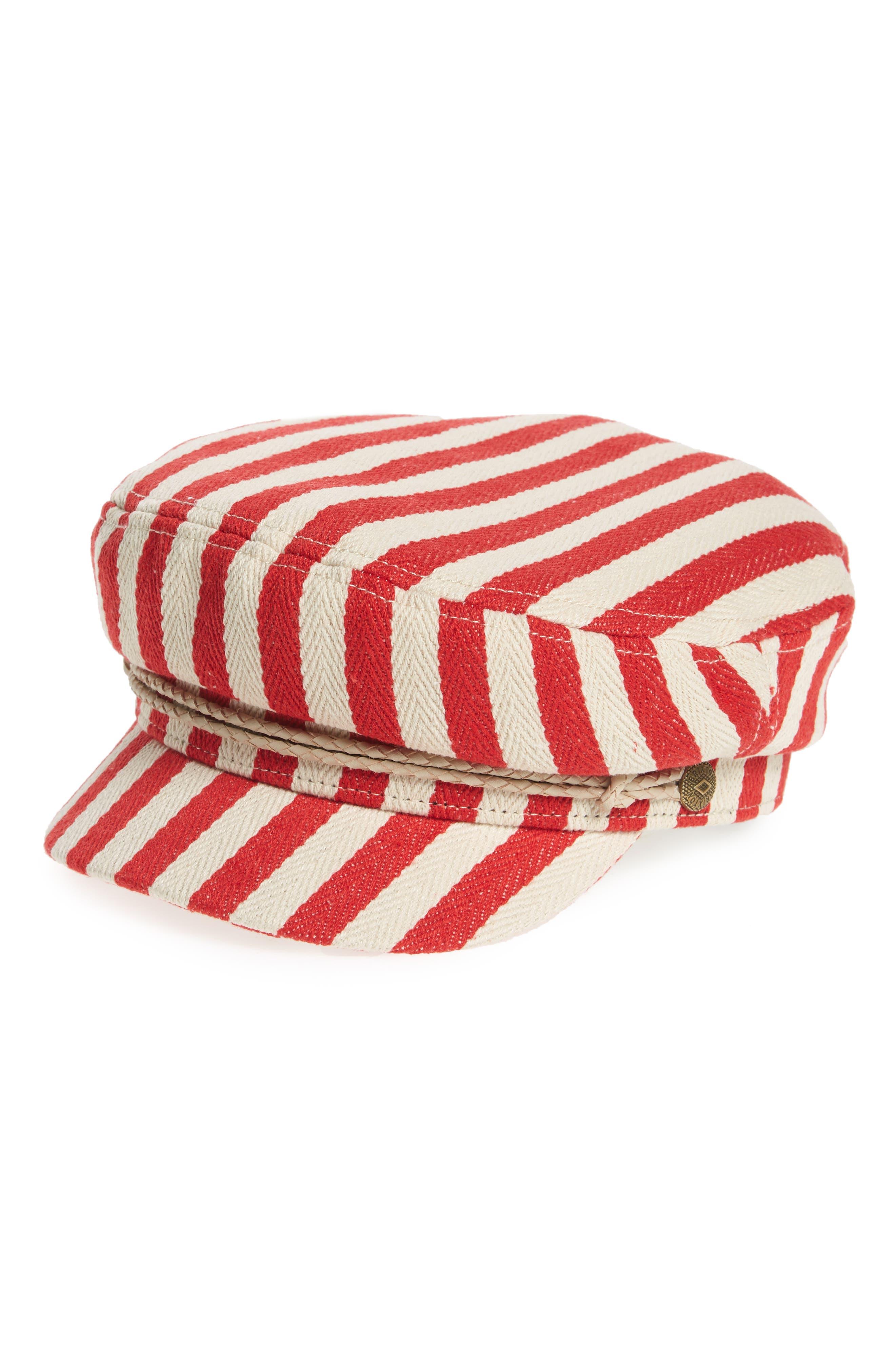 Fiddler Stripe Baker Boy Cap,                             Main thumbnail 1, color,                             Red/ Natural