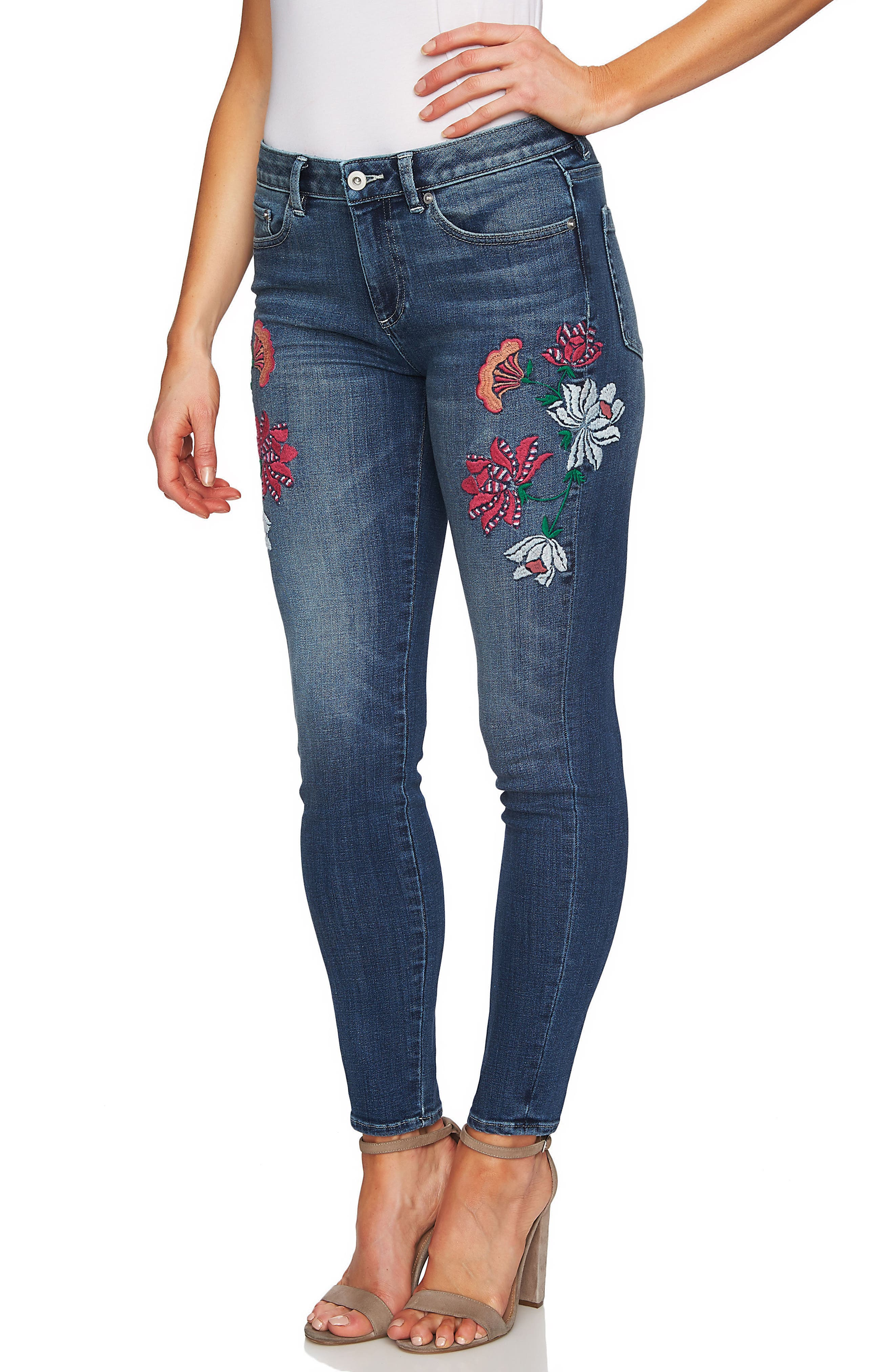 Floral Embroidery Skinny Jeans,                             Alternate thumbnail 3, color,                             True Blue