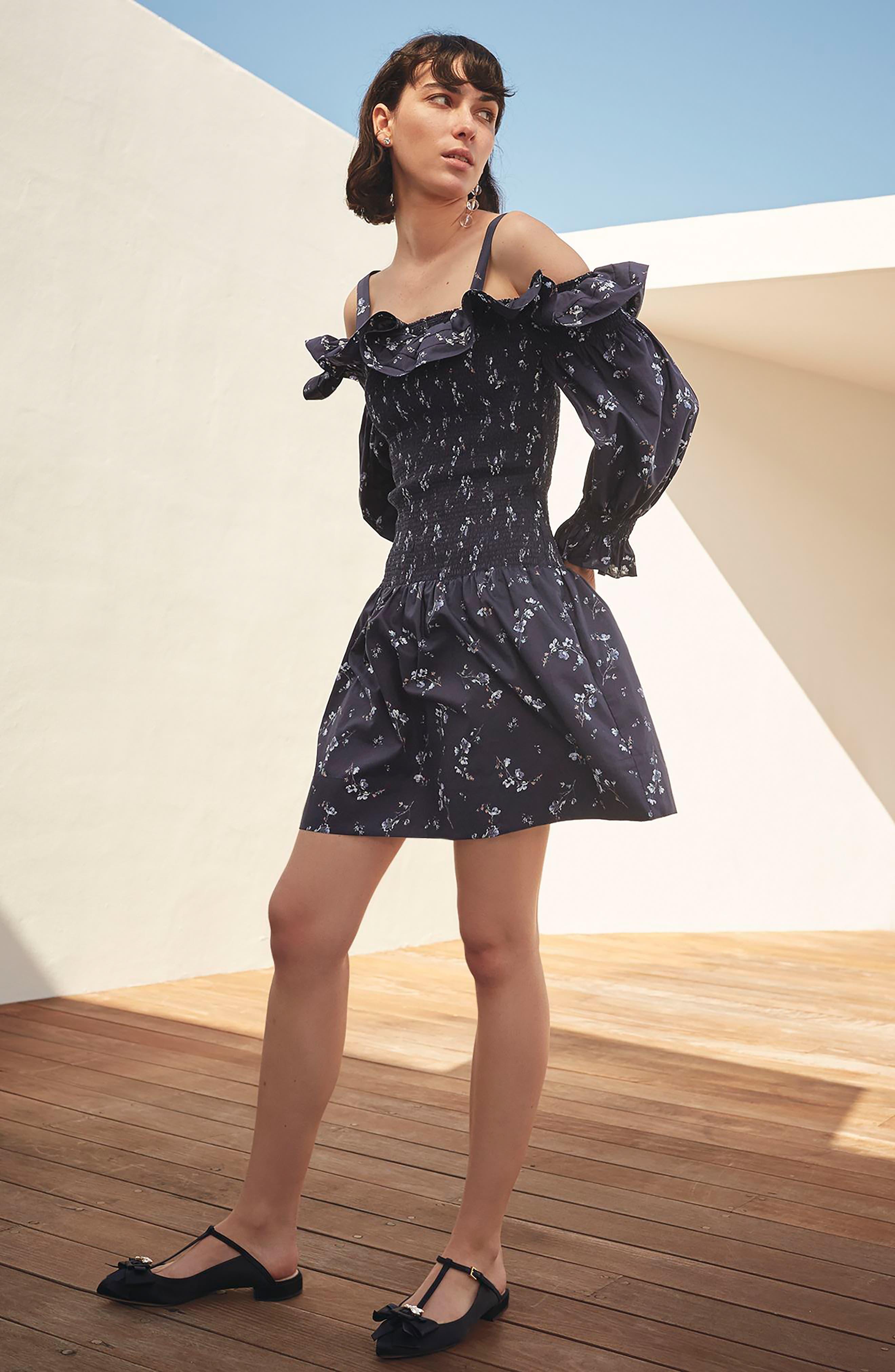 Francine Cold Shoulder Dress,                             Alternate thumbnail 2, color,                             Navy Combo