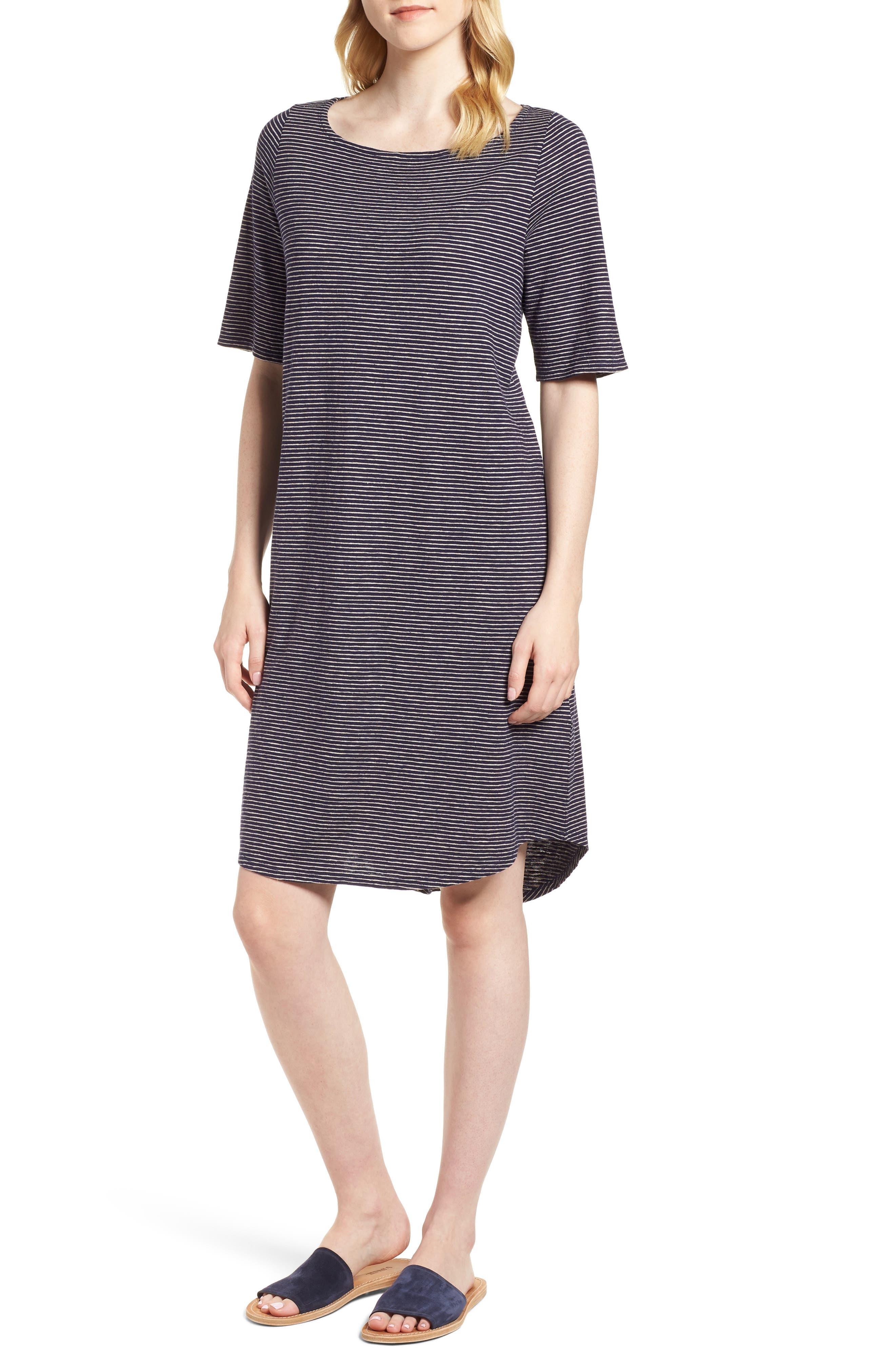 Eileen Fisher Hemp & Organic Cotton Jersey Dress (Regular & Petite)