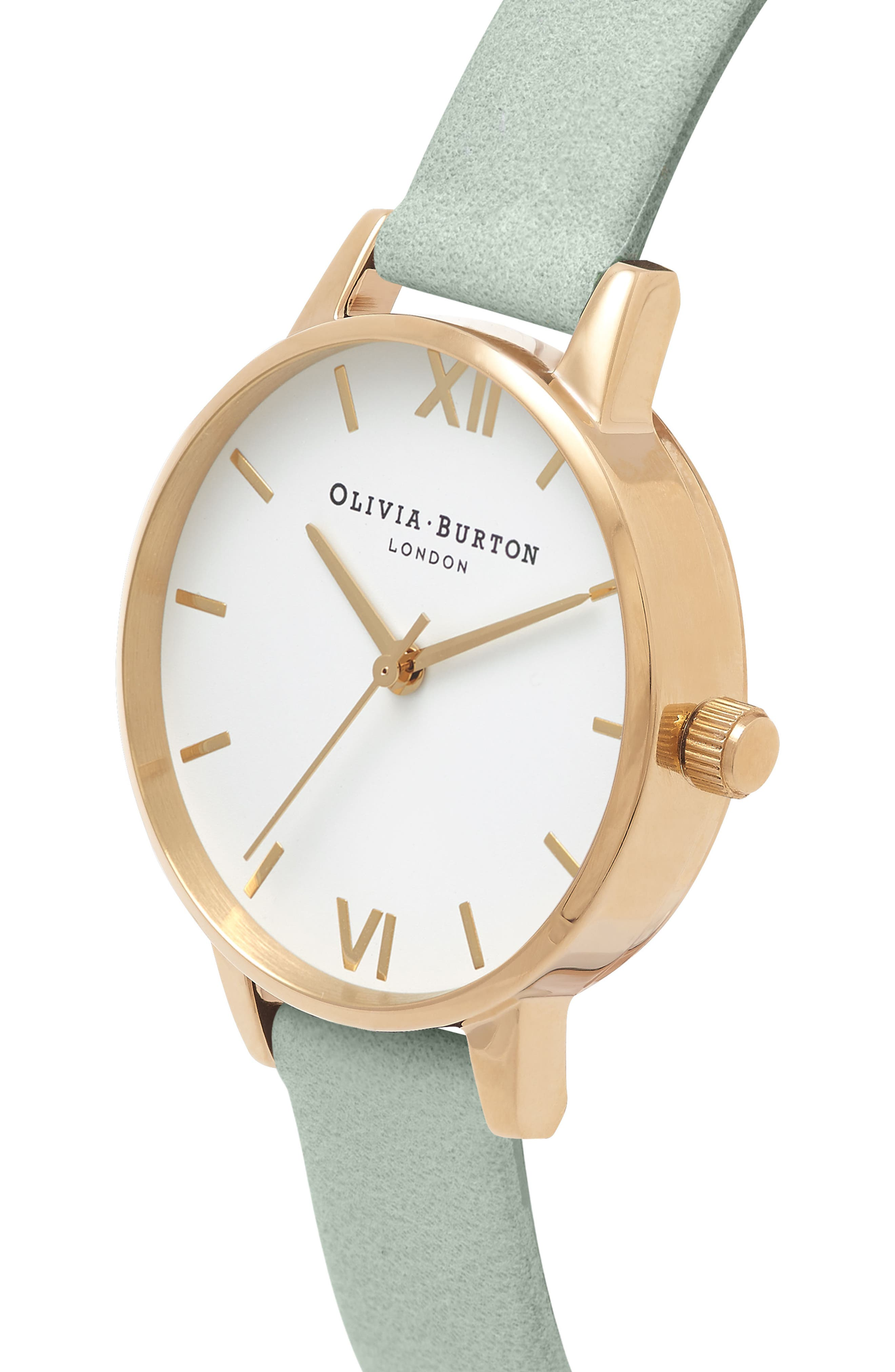 Leather Strap Watch, 30mm,                             Alternate thumbnail 3, color,                             Sage/ White/ Gold