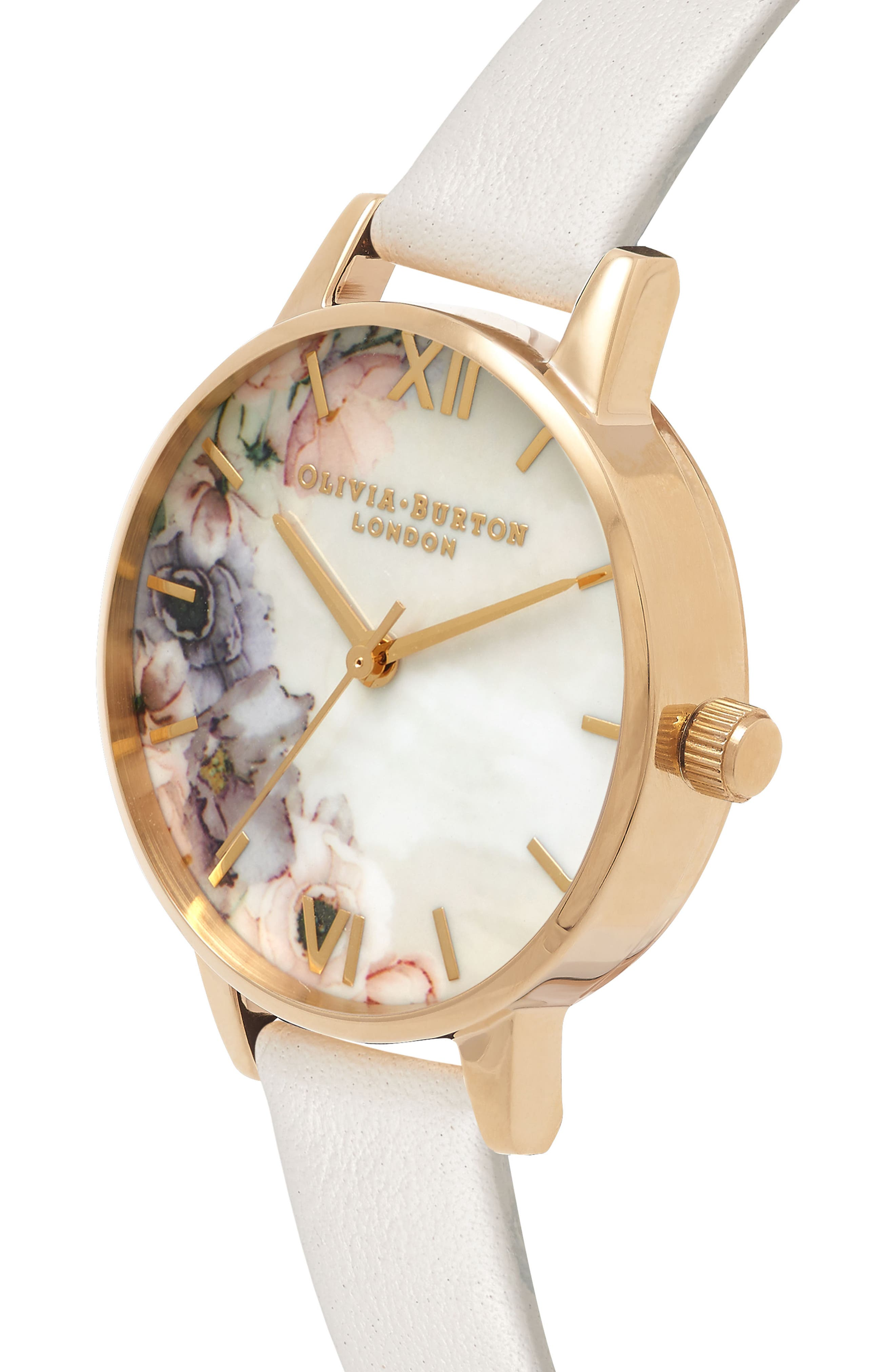 Watercolor Floral Leather Strap Watch, 30mm,                             Alternate thumbnail 3, color,                             Blush/ White Floral/ Gold
