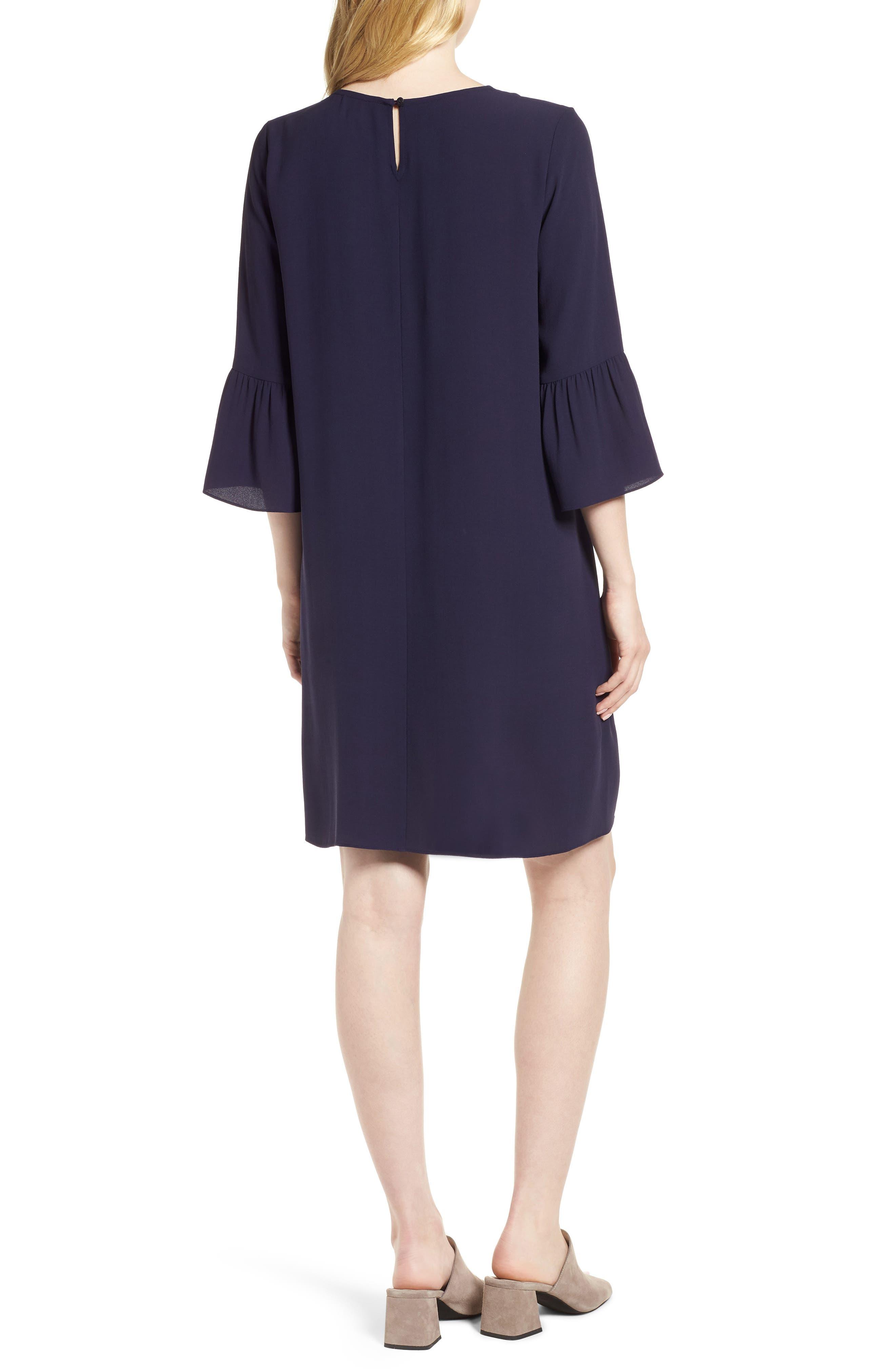 Flare Sleeve Silk Dress,                             Alternate thumbnail 2, color,                             Salt Lake