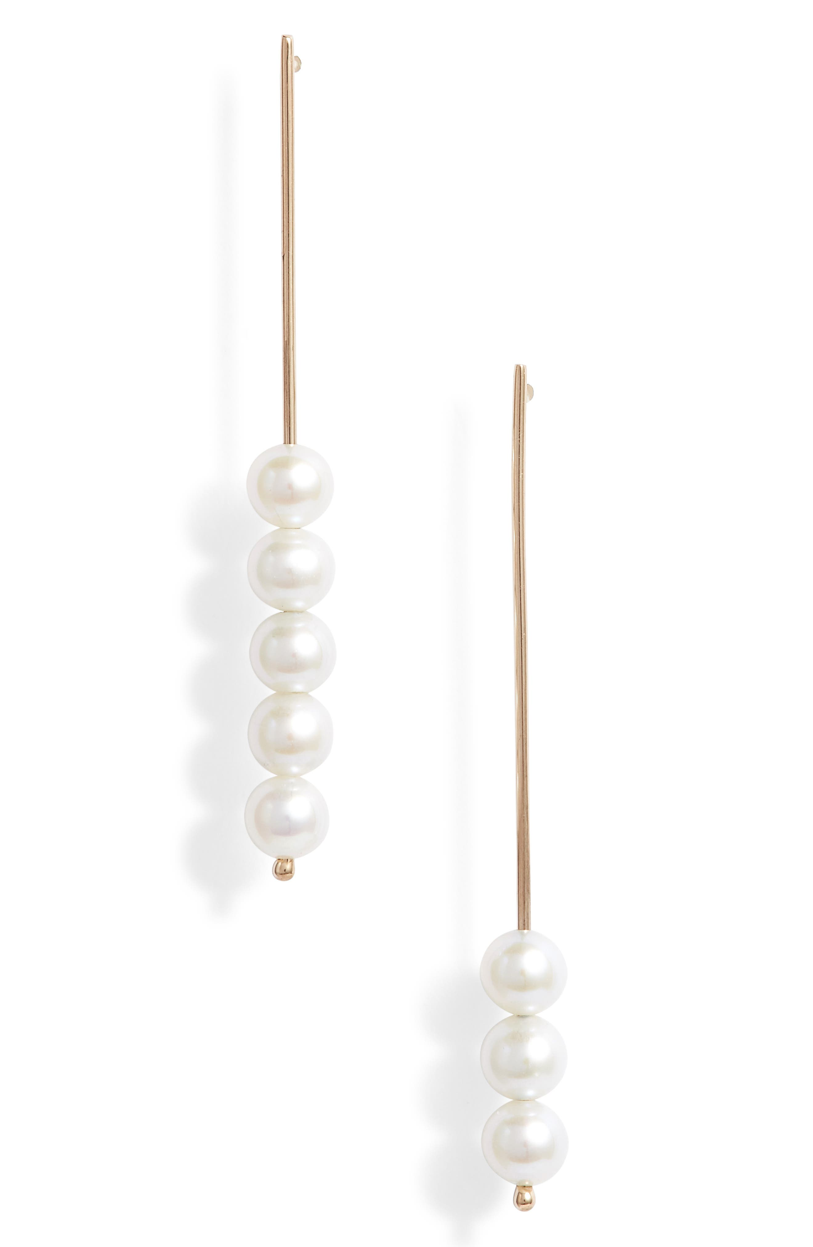 Baby Pearl Stick Pin Linear Drop Mismatch Earrings,                         Main,                         color, Yellow Gold/ White Pearl