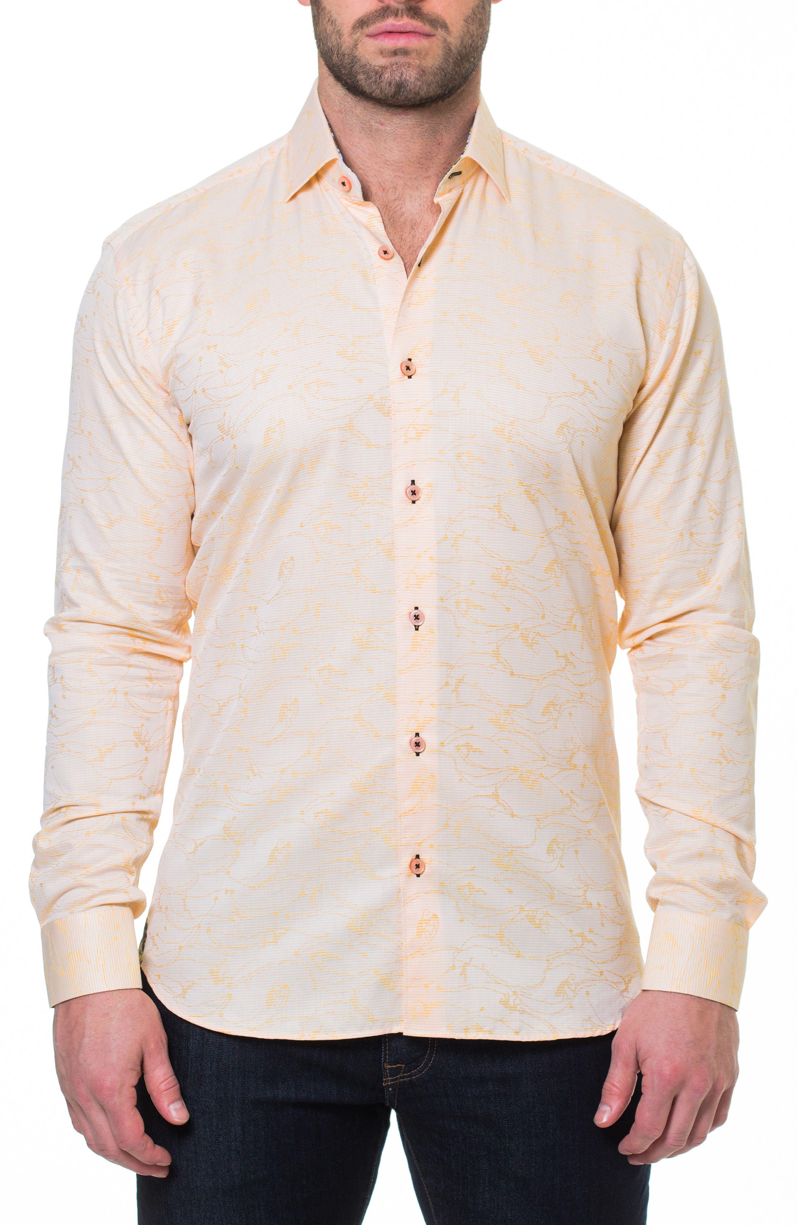 Luxor Monkey Slim Fit Sport Shirt,                             Alternate thumbnail 3, color,                             Yellow