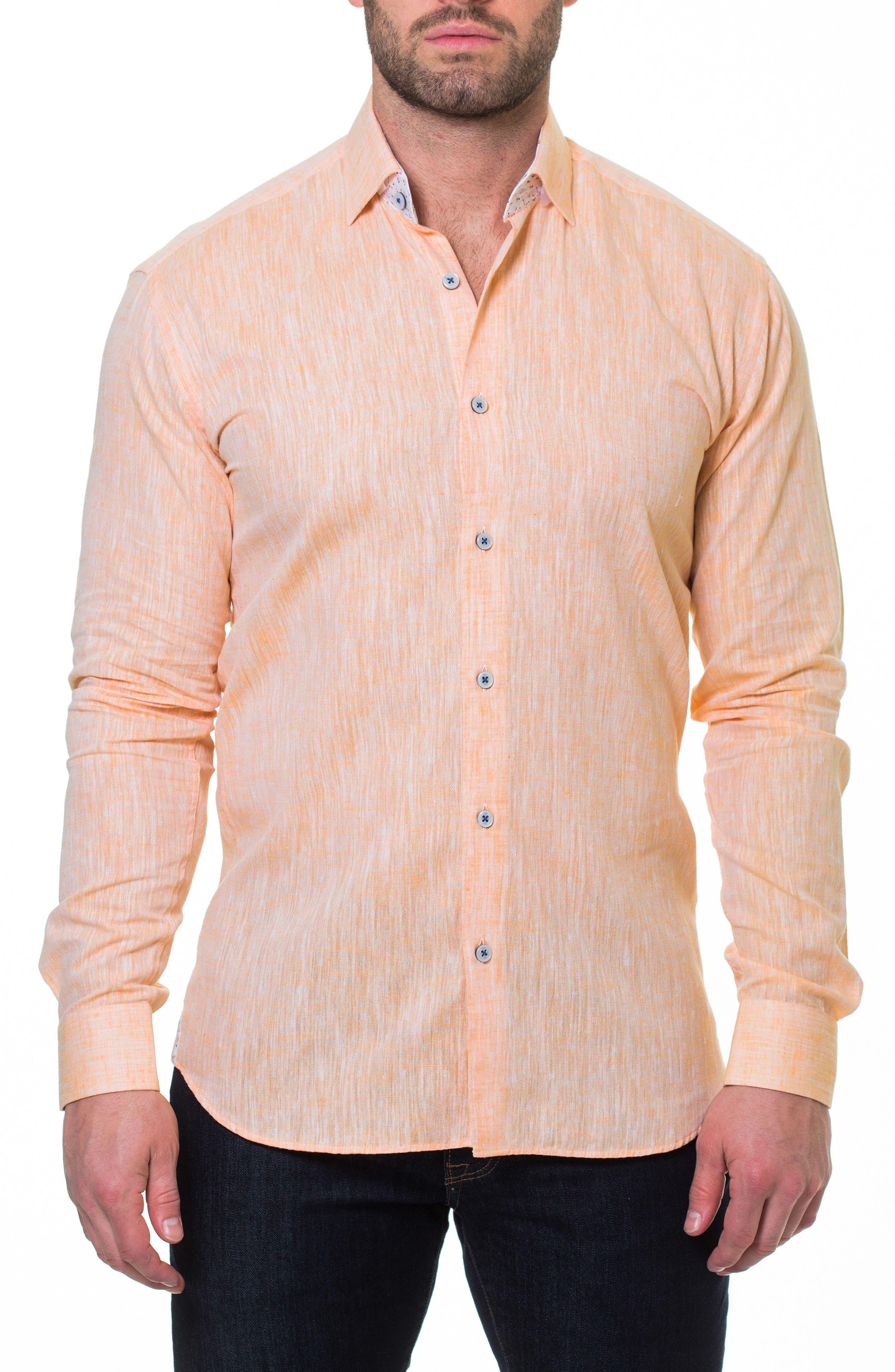 Luxor Lino Slim Fit Sport Shirt,                             Alternate thumbnail 3, color,                             Orange