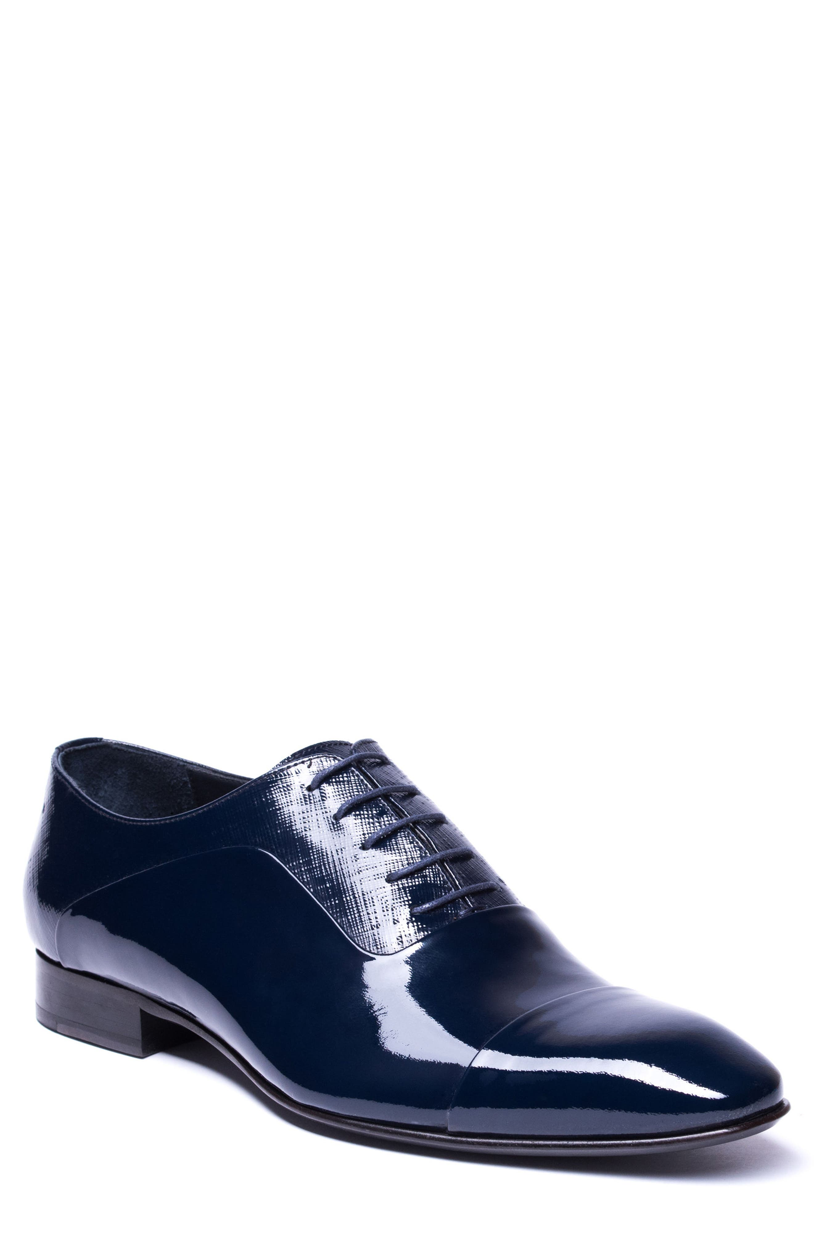 Jimmy Cap Toe Oxford,                             Main thumbnail 1, color,                             Navy Leather