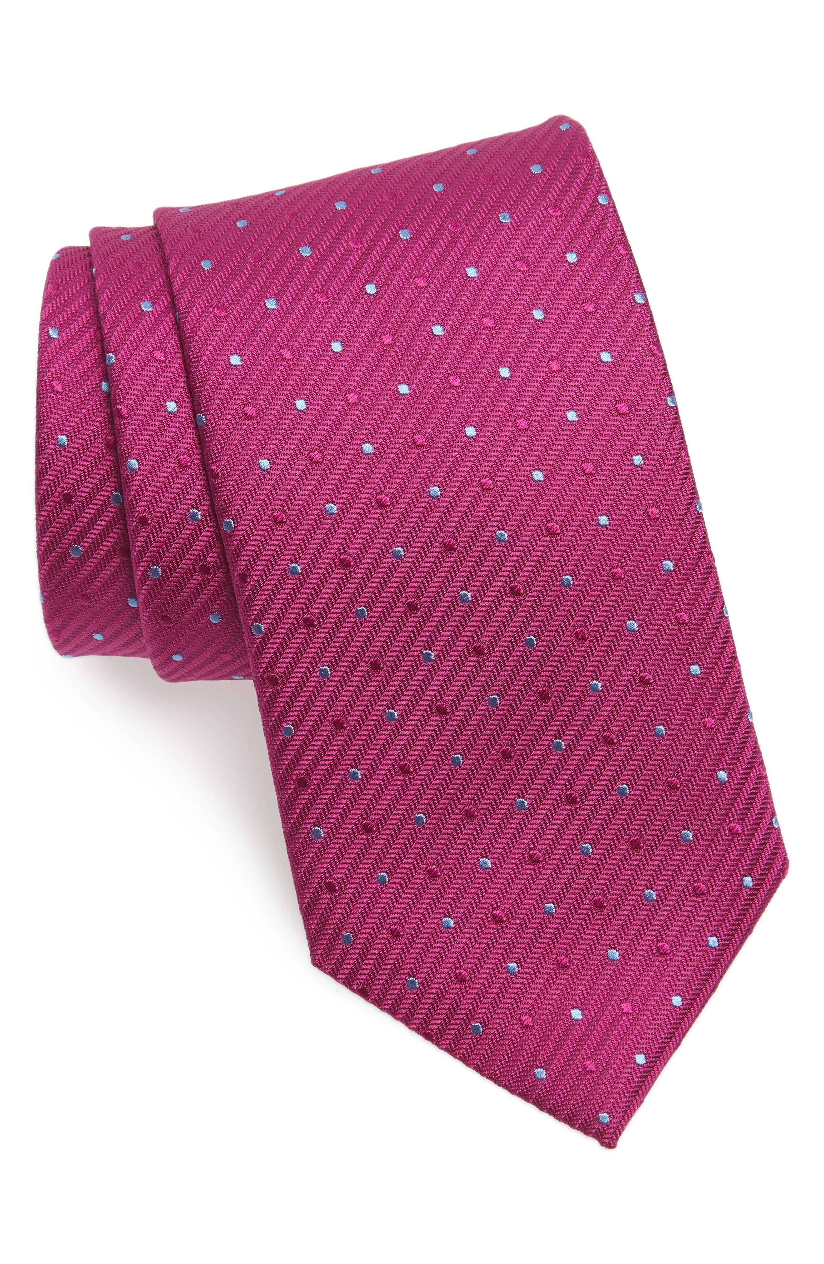 Dot Silk Tie,                         Main,                         color, Berry