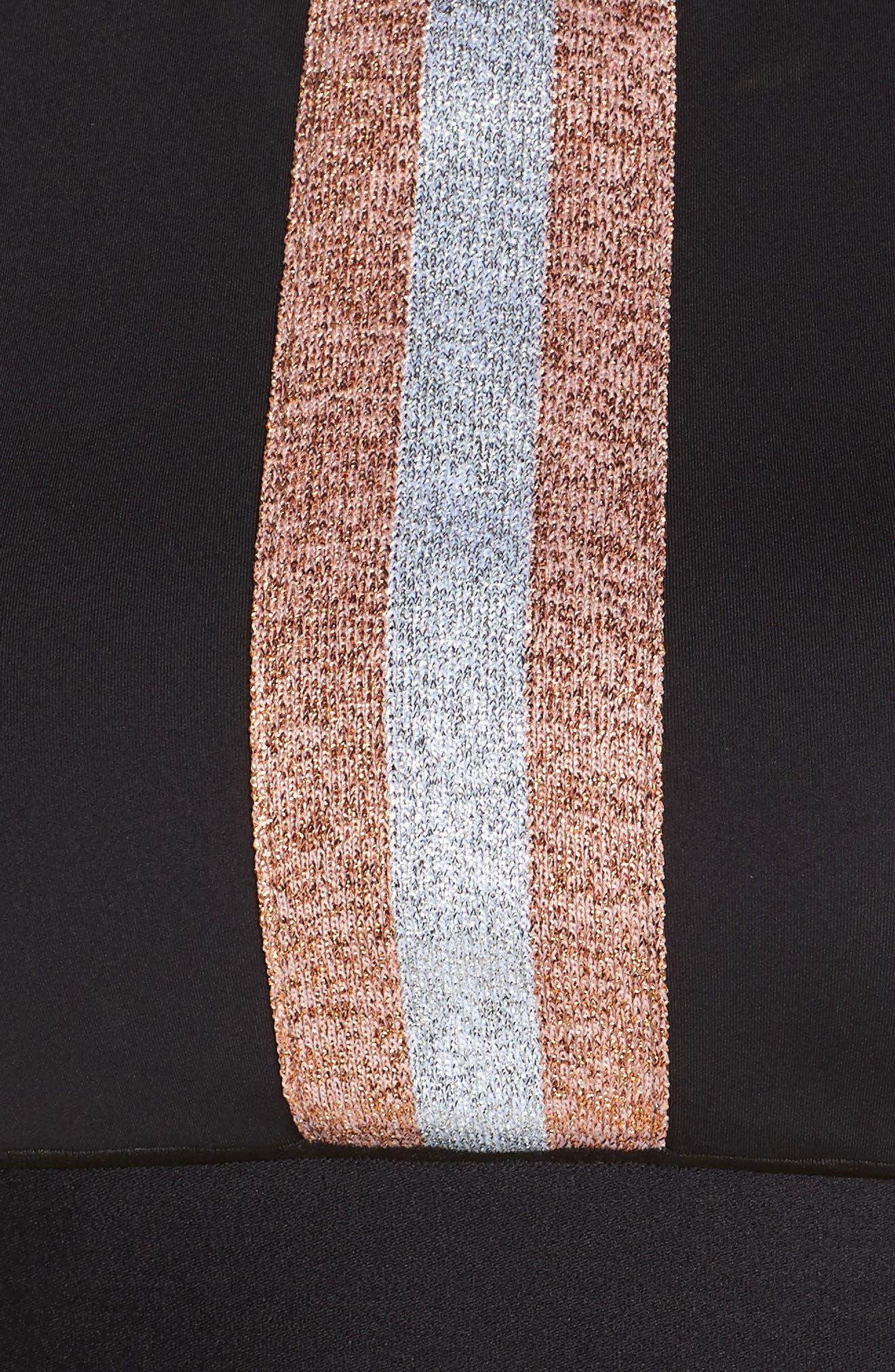 Level Matte Collegiate Crop Top,                             Alternate thumbnail 3, color,                             Nero Rose Silver