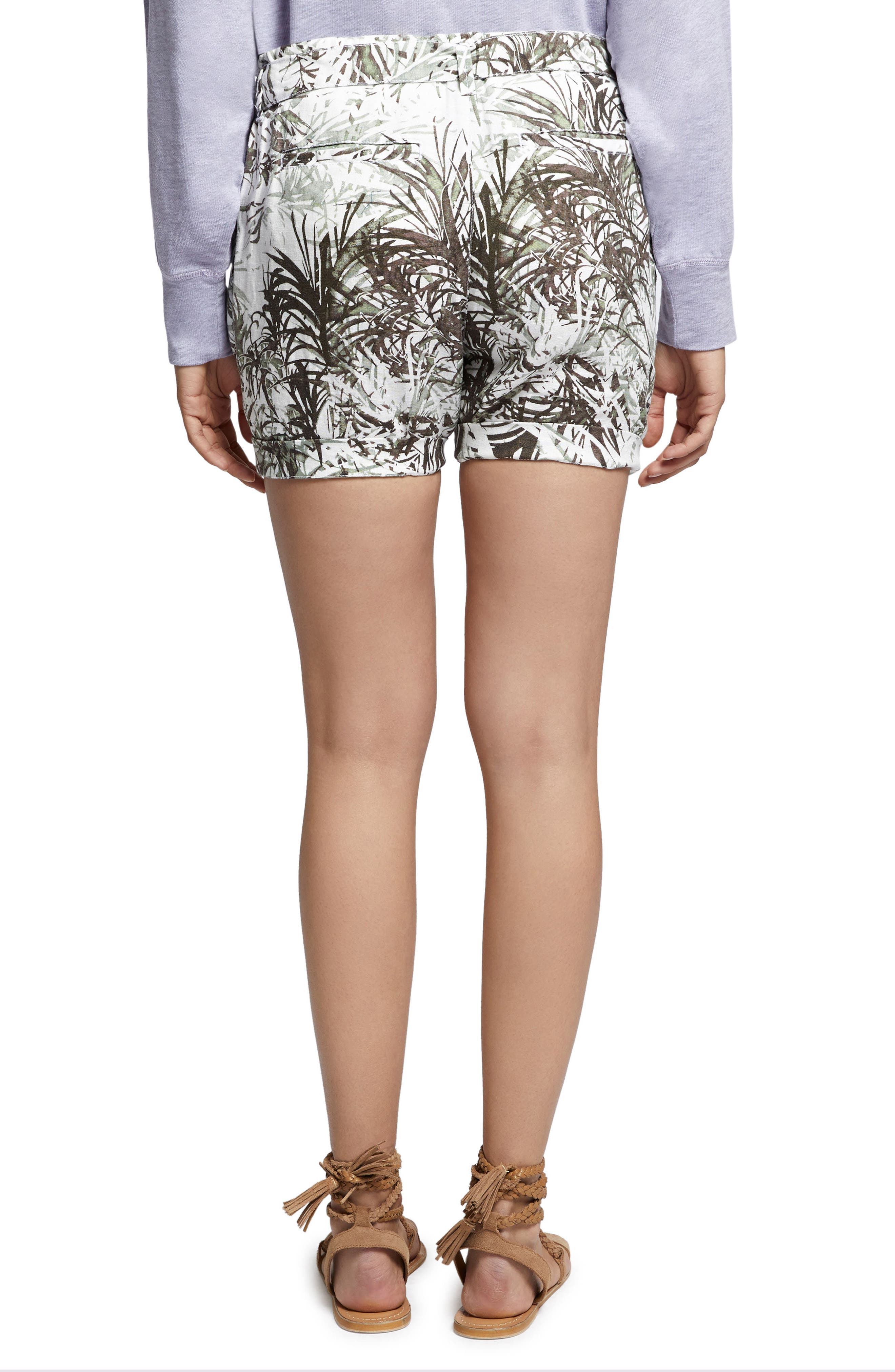 Muse Tie Waist Shorts,                             Alternate thumbnail 2, color,                             Tiki Palm