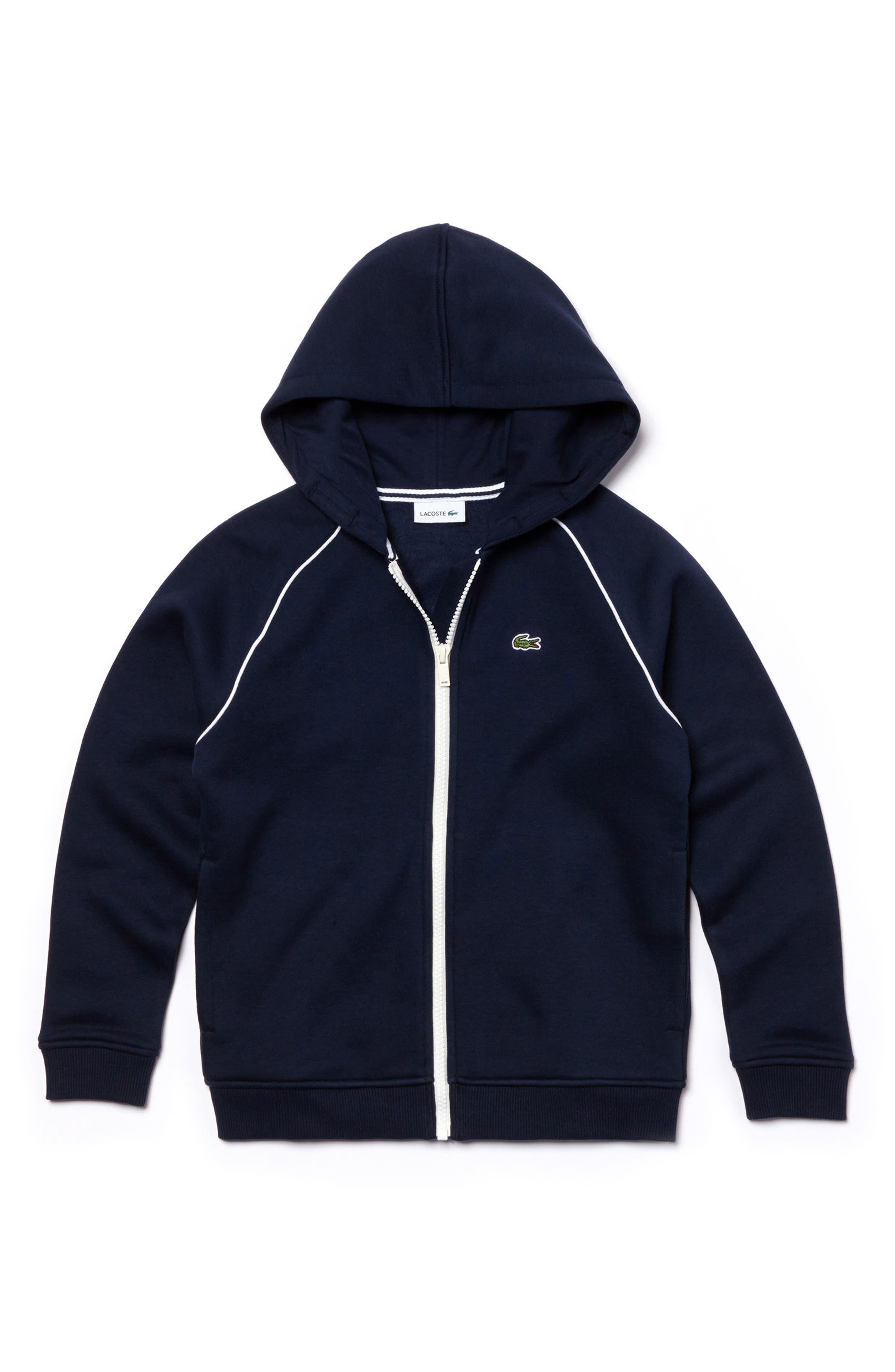 Full Zip Hoodie,                         Main,                         color, Navy Blue/ White