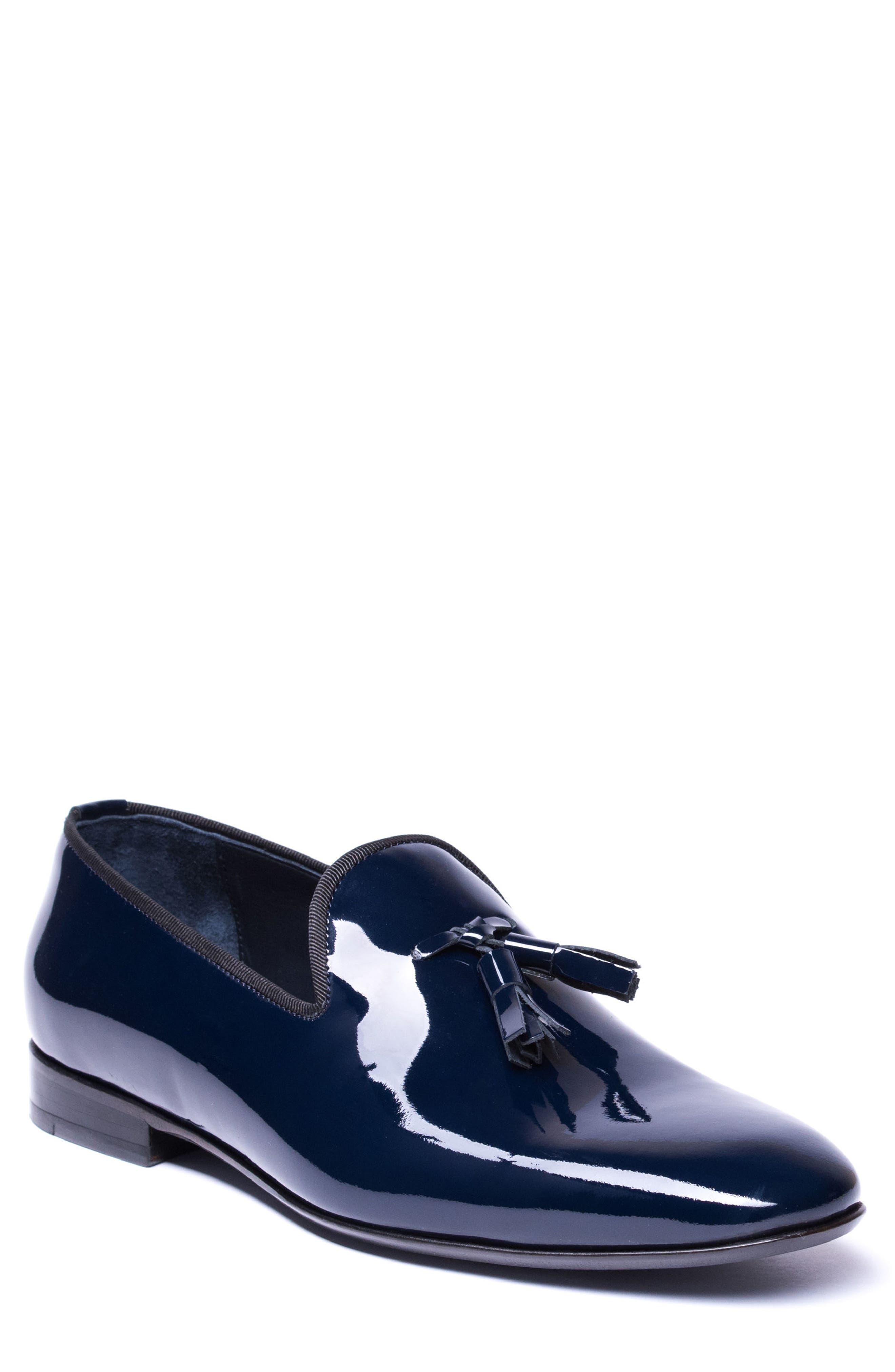 Enzo Tasseled Venetian Loafer,                             Main thumbnail 1, color,                             Navy Leather
