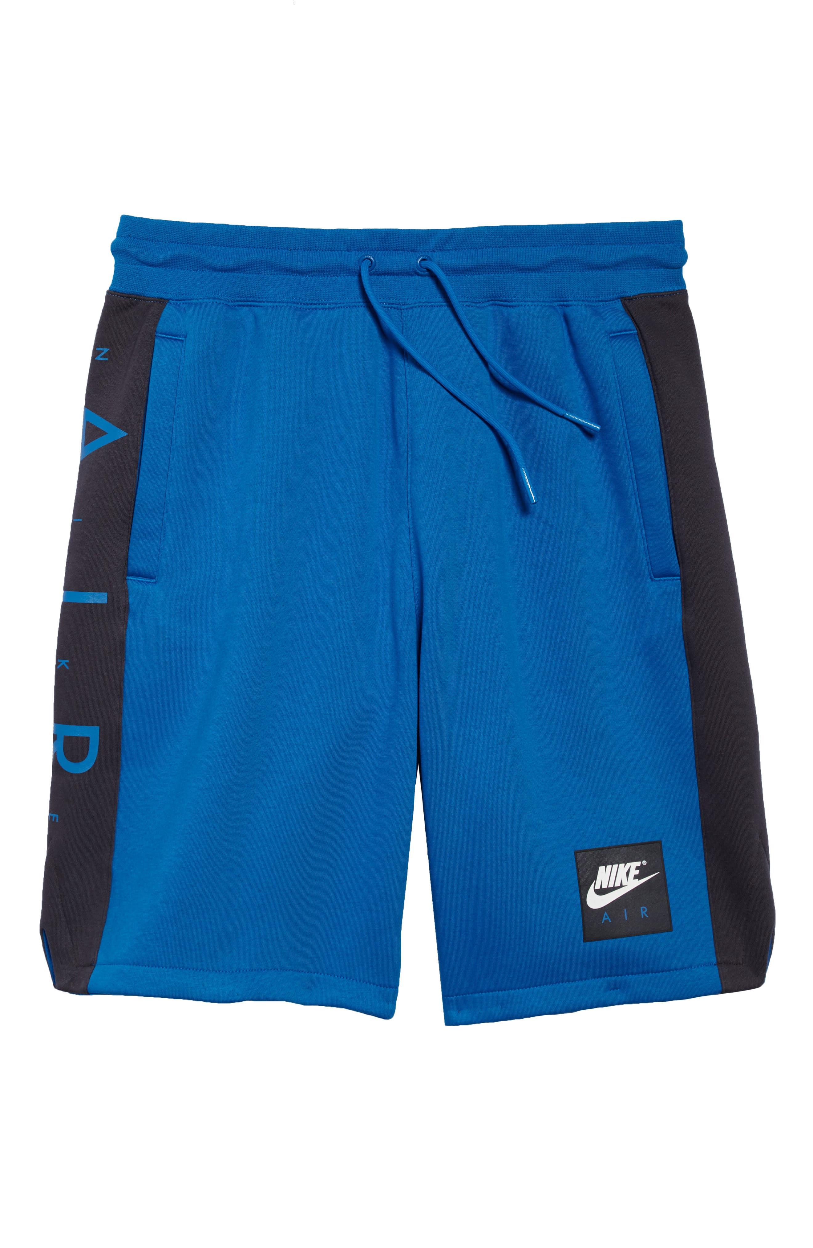 Sportswear Air Fleece Shorts,                             Alternate thumbnail 6, color,                             Blue Nebula/ Anthracite/ White