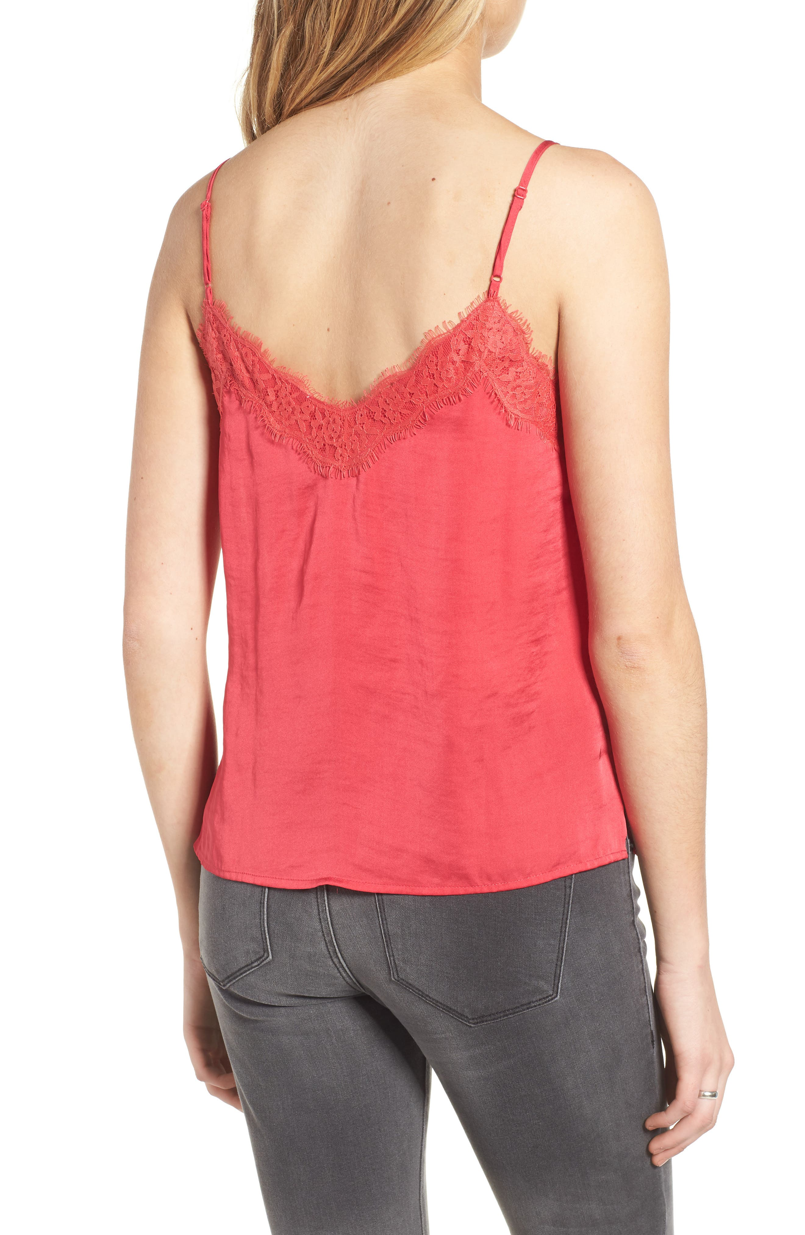 Lace Trim Satin Camisole,                             Alternate thumbnail 2, color,                             Pink Rose