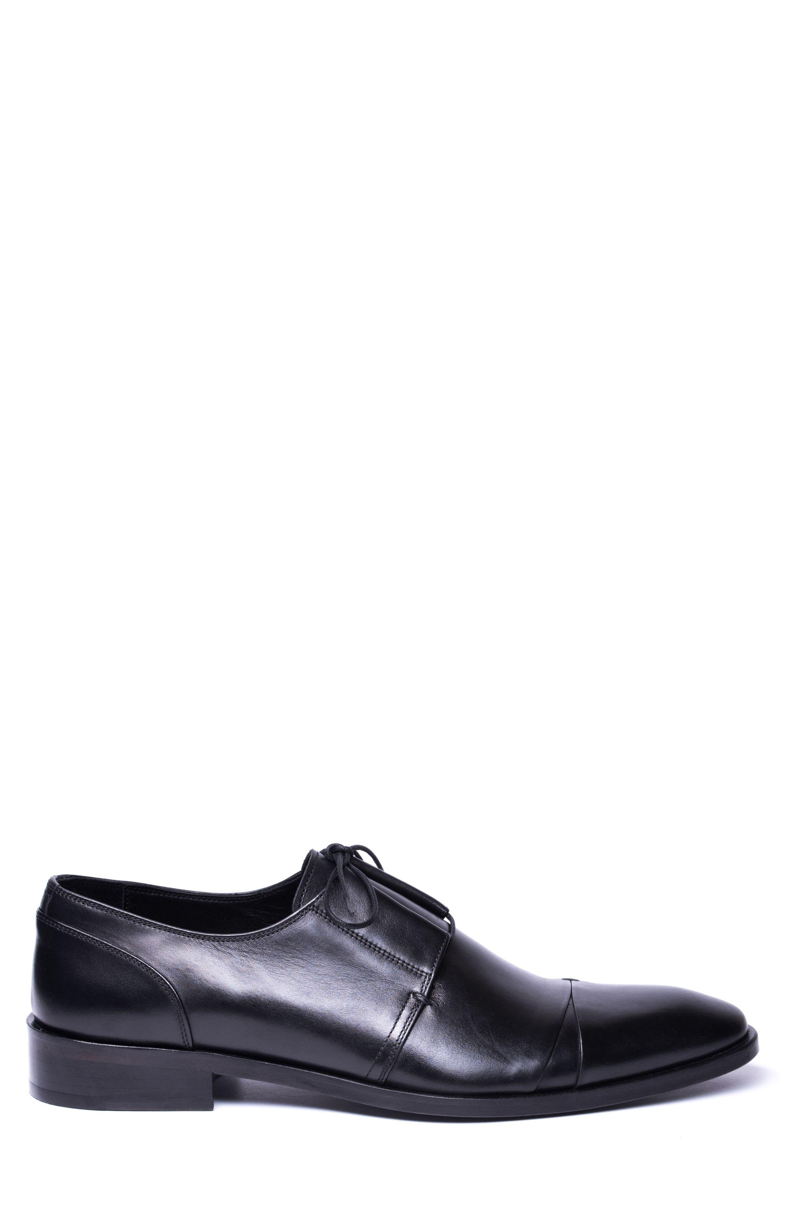 Danny Cap Toe Derby,                             Alternate thumbnail 3, color,                             Black Leather