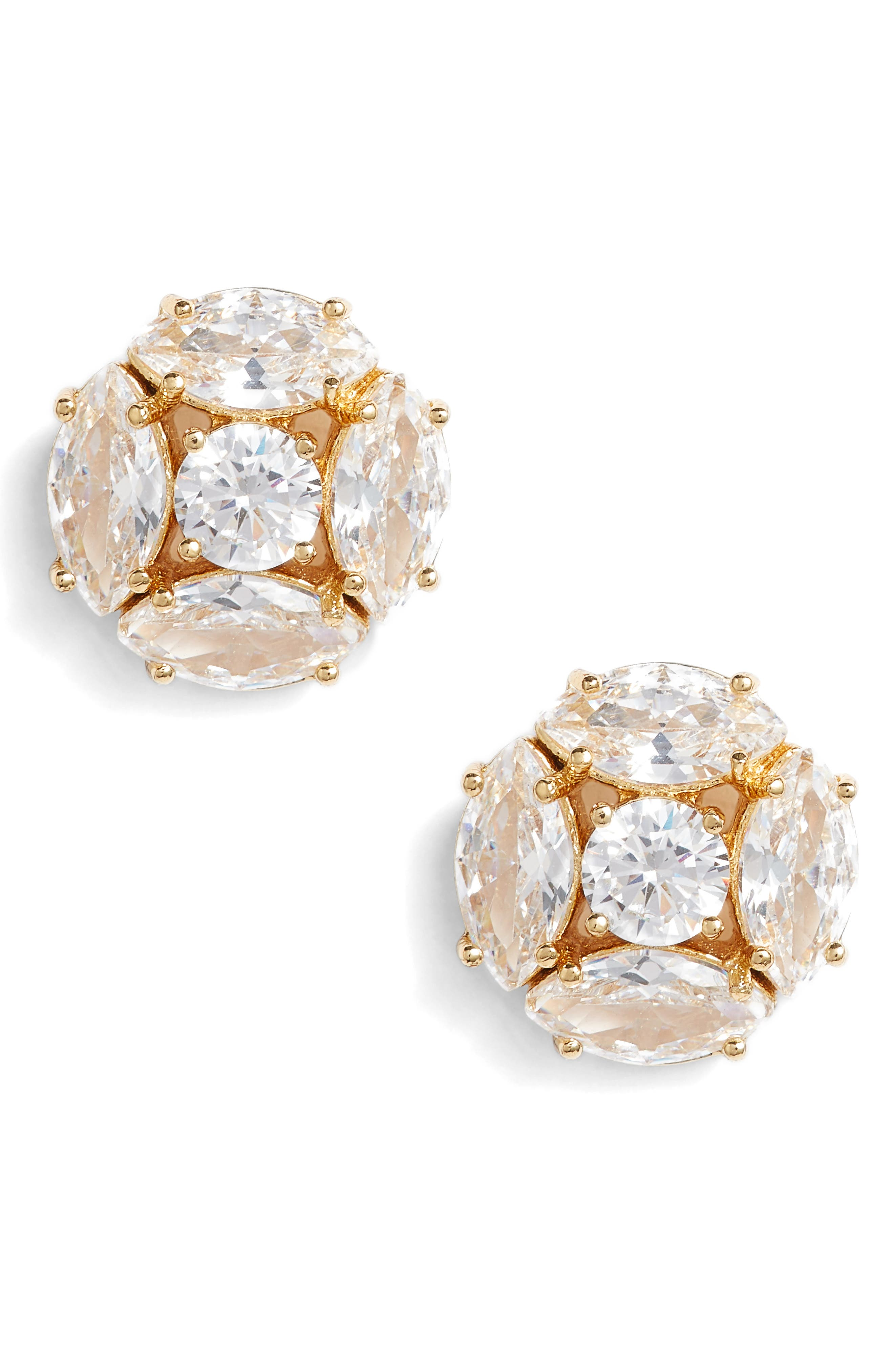 flying colors marquise cluster earrings,                             Main thumbnail 1, color,                             Clear/ Gold