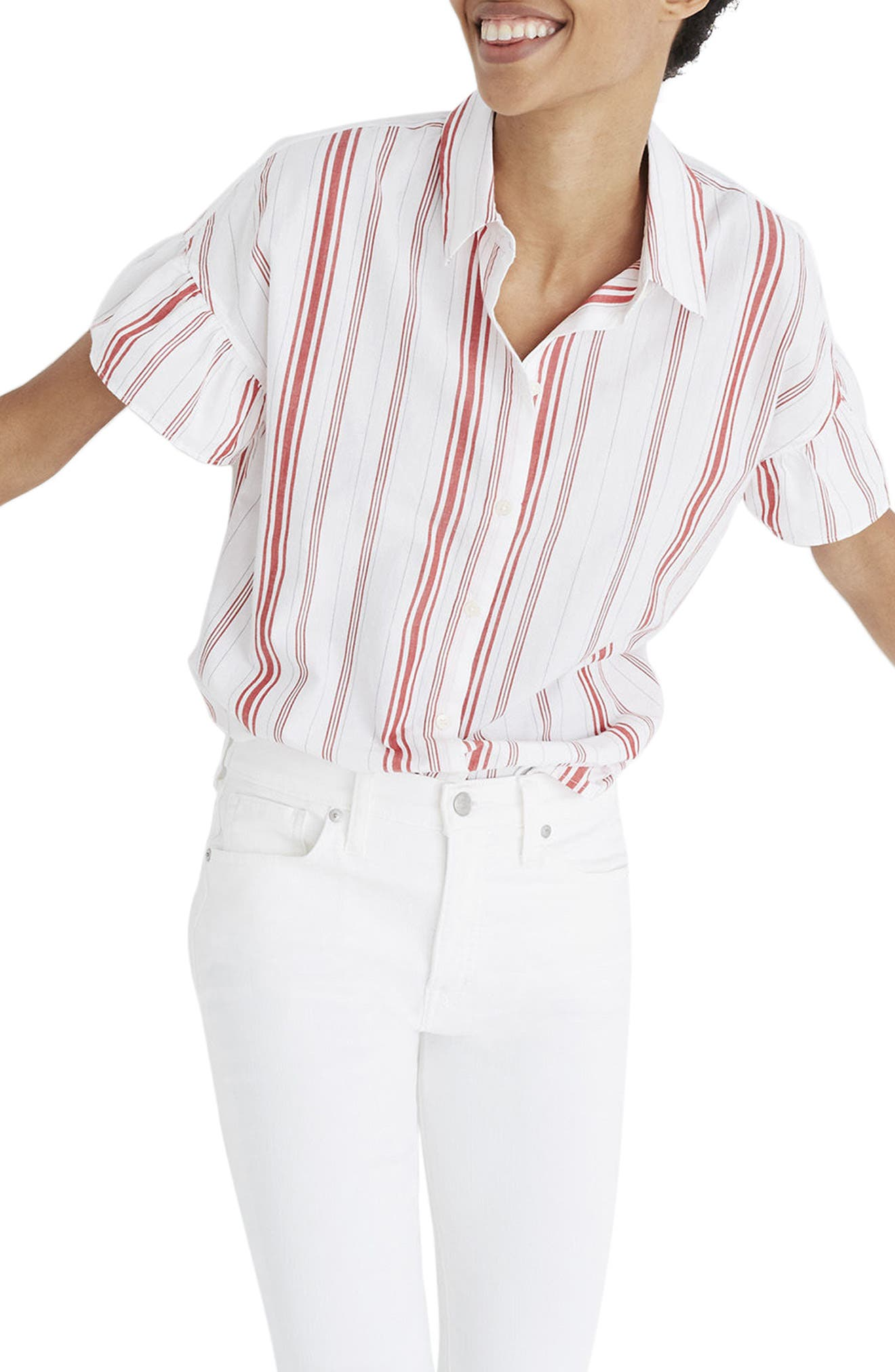 Central Stripe Ruffle Sleeve Shirt,                             Main thumbnail 1, color,                             Red Stripe