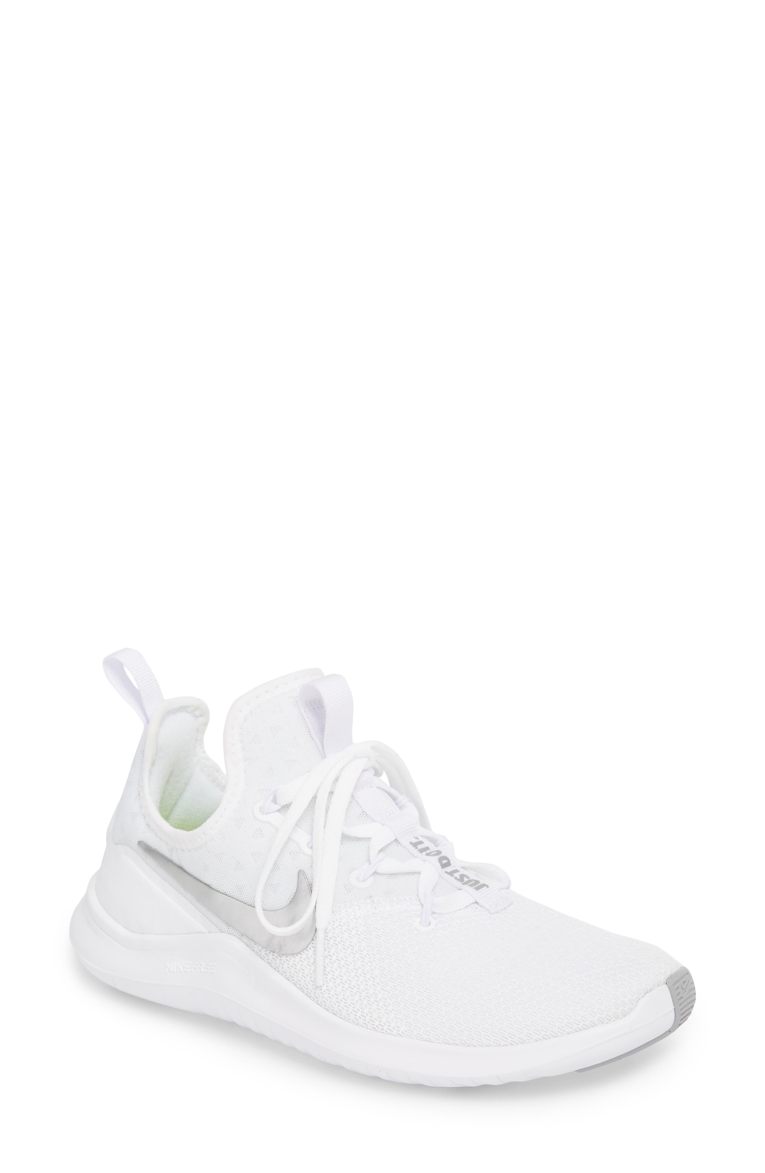 Free TR8 Training Shoe,                         Main,                         color, White/ Metallic Silver/ White
