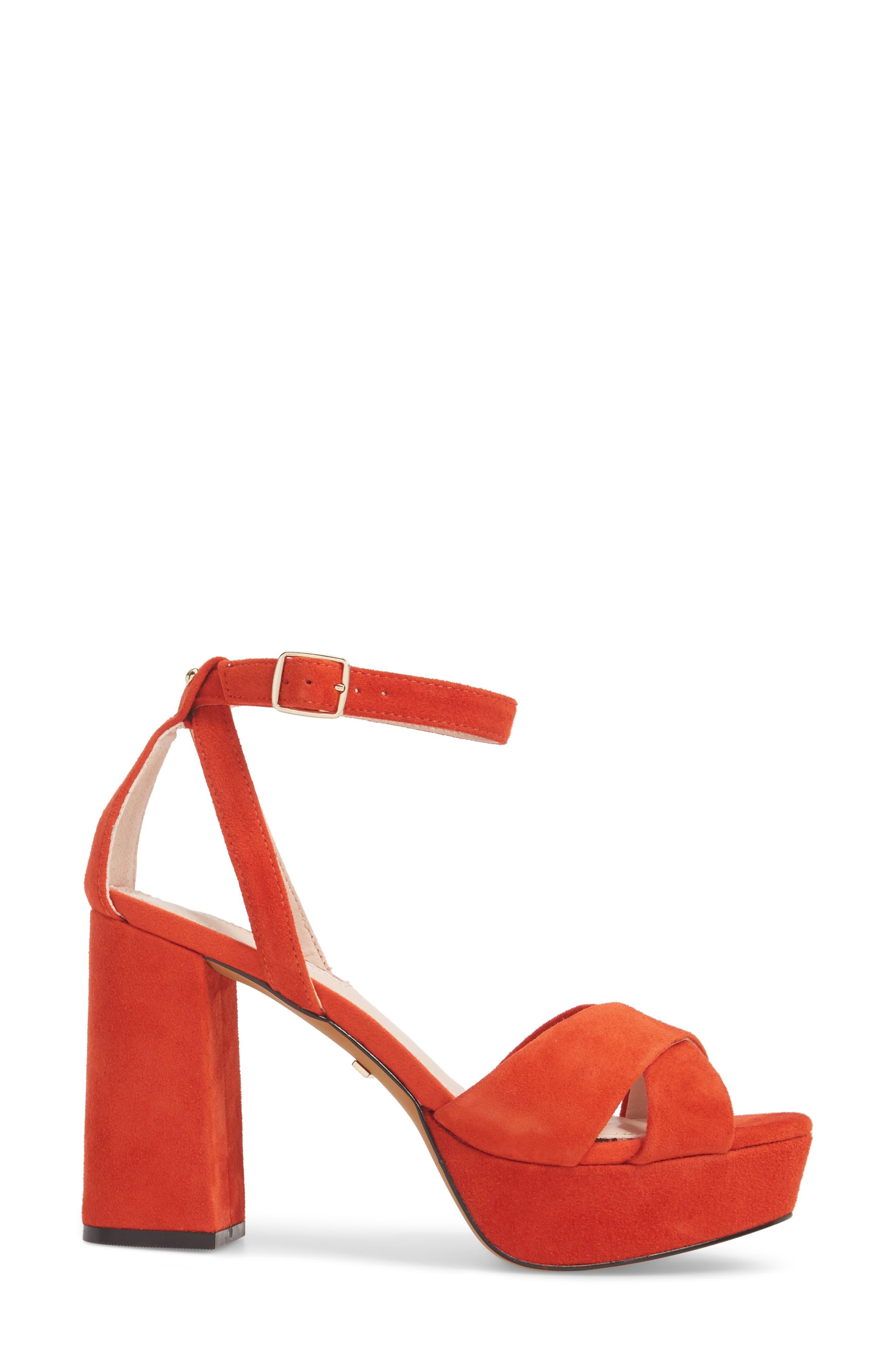 Leah Cross Strap Platform Sandal,                             Alternate thumbnail 3, color,                             Orange