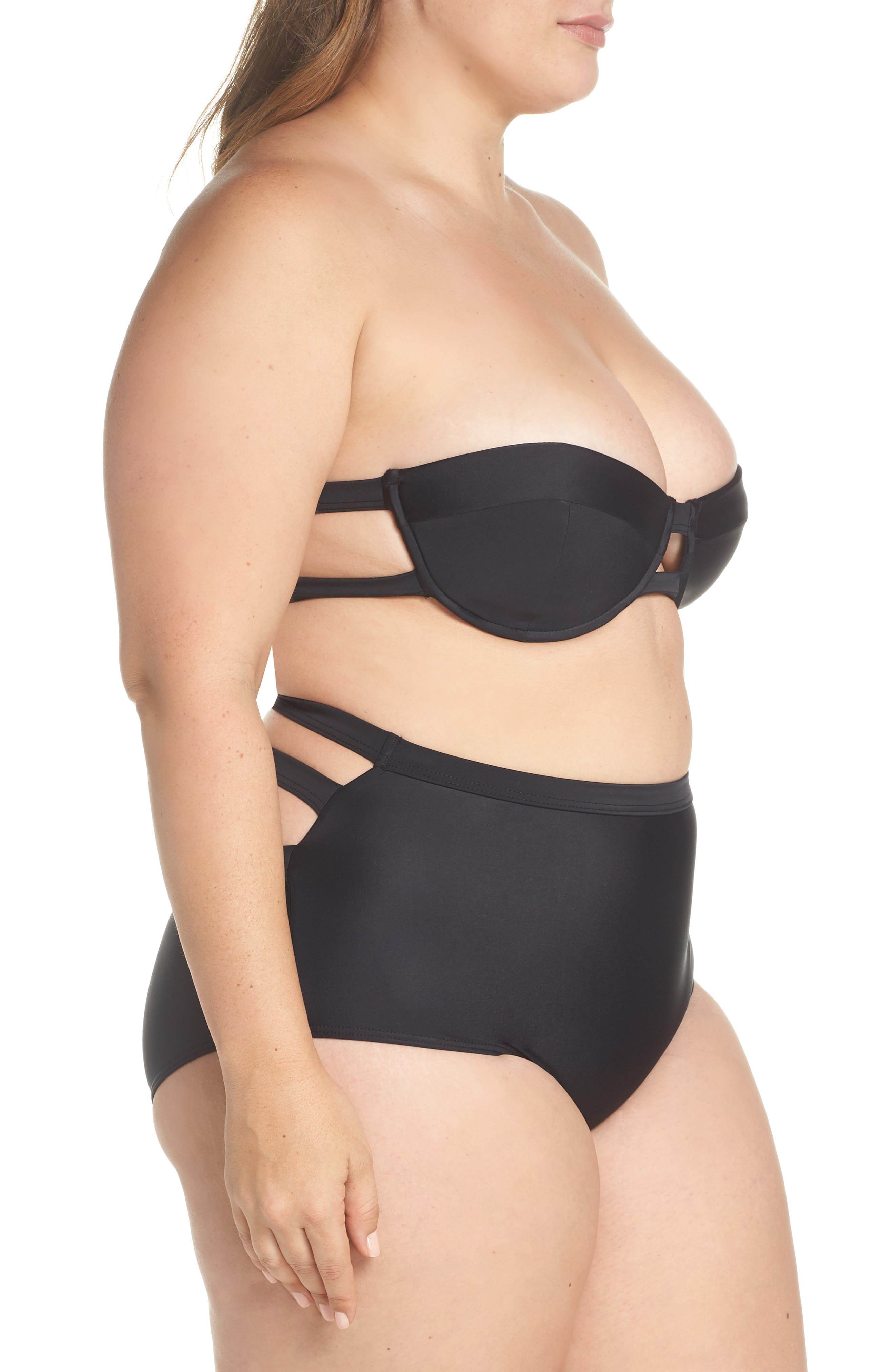 Bouloux II High Waist Bikini Bottoms,                             Alternate thumbnail 14, color,                             Black