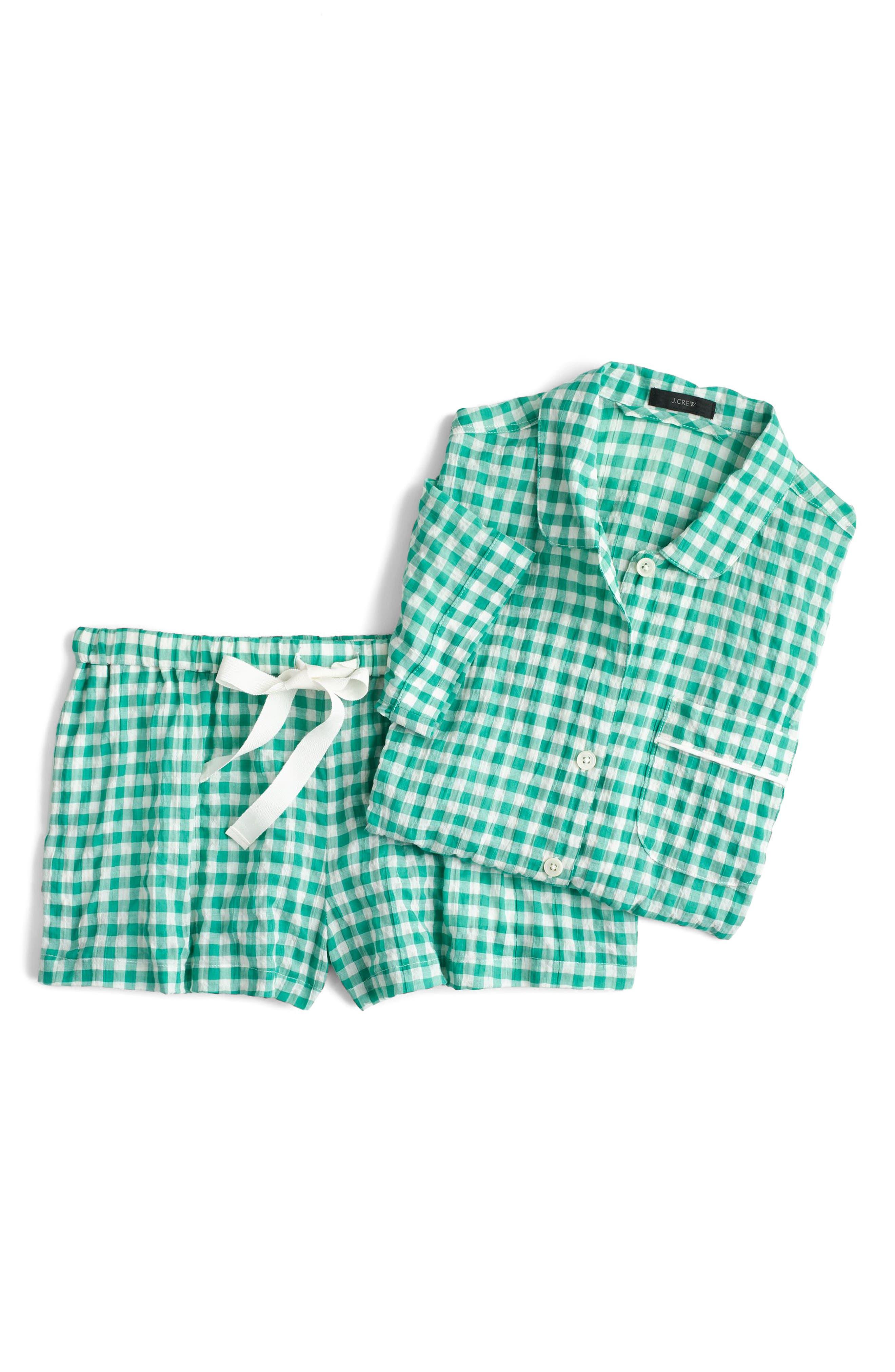J.Crew Gingham Pajama Set,                         Main,                         color, Ivory Green