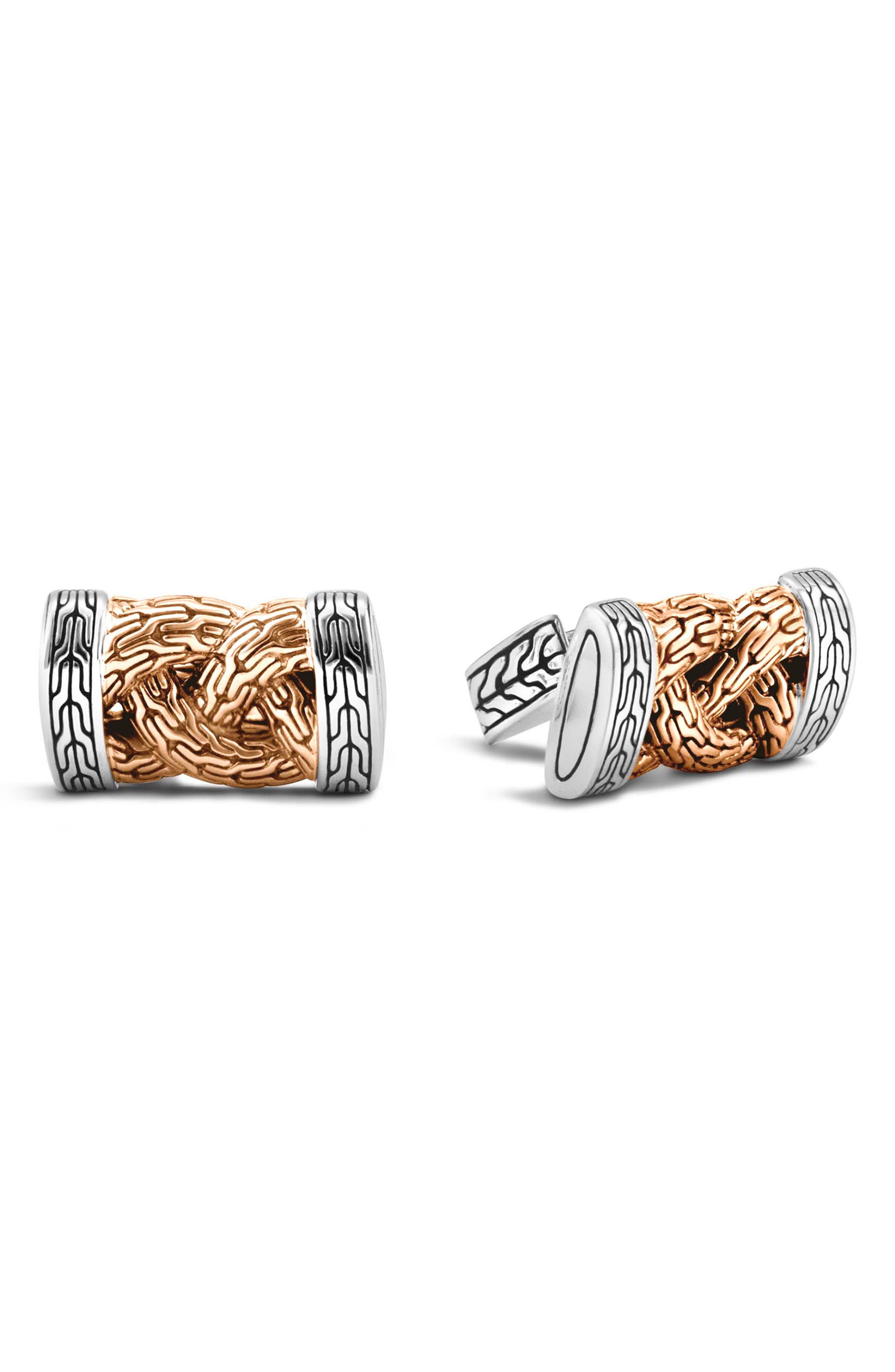 Silver & Bronze Cuff Links,                         Main,                         color, Silver