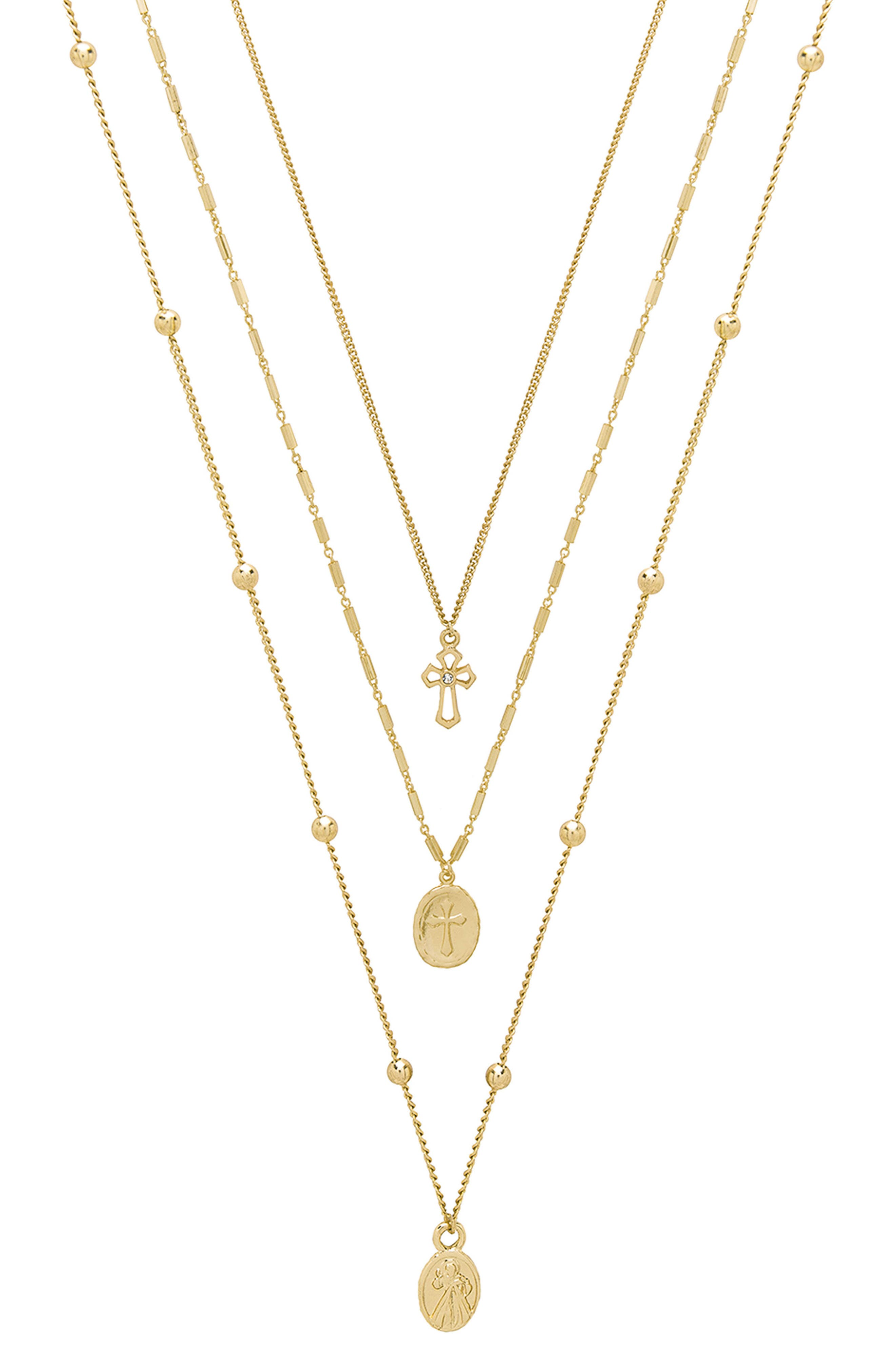 Set of 3 Cross Necklaces,                         Main,                         color, Gold