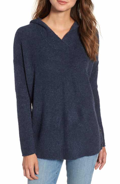 85708f039c8 Caslon® Side Button Hooded Sweater (Regular   Petite)
