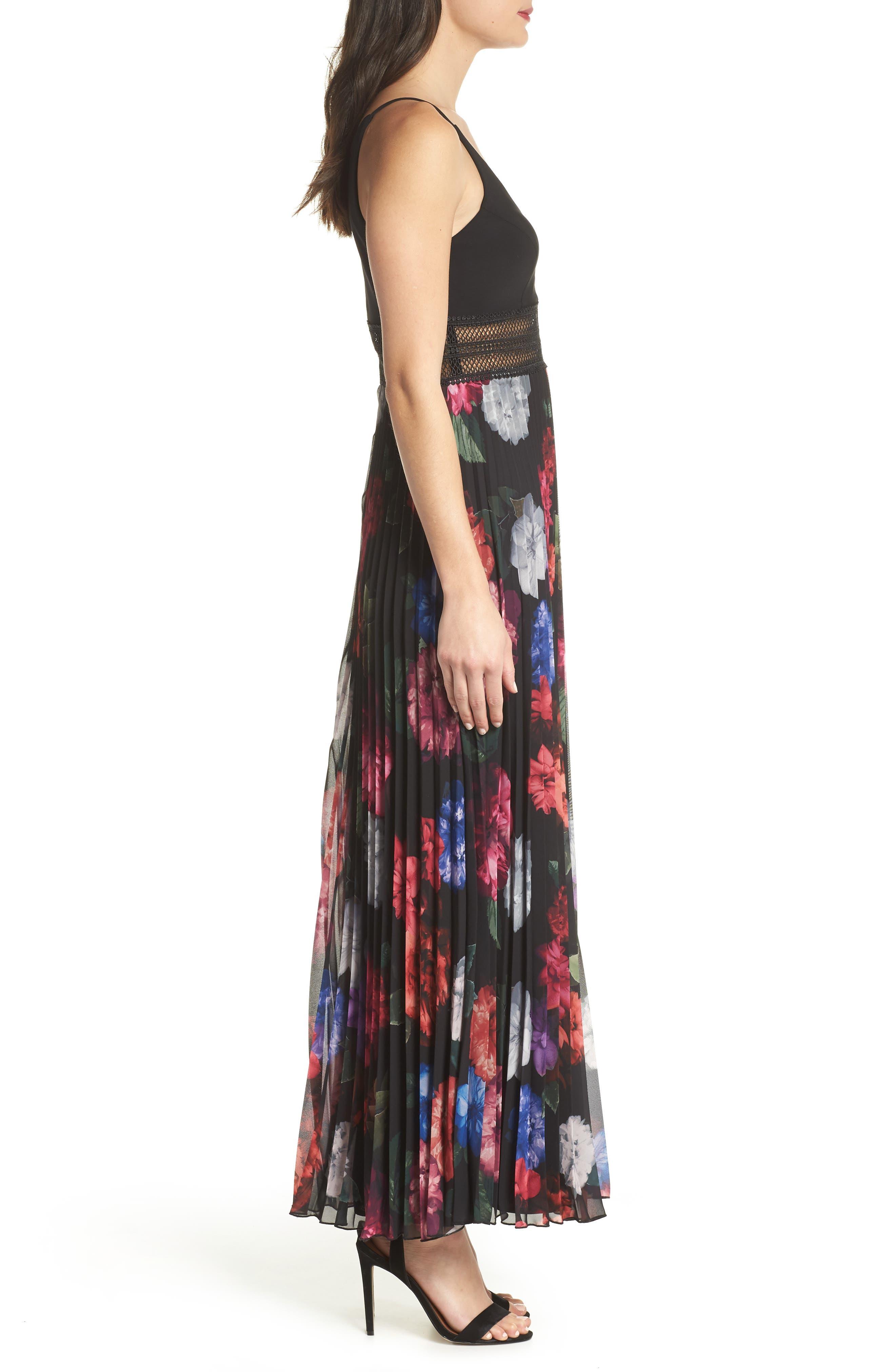 Floral Pleated Gown,                             Alternate thumbnail 3, color,                             Black/ Purple
