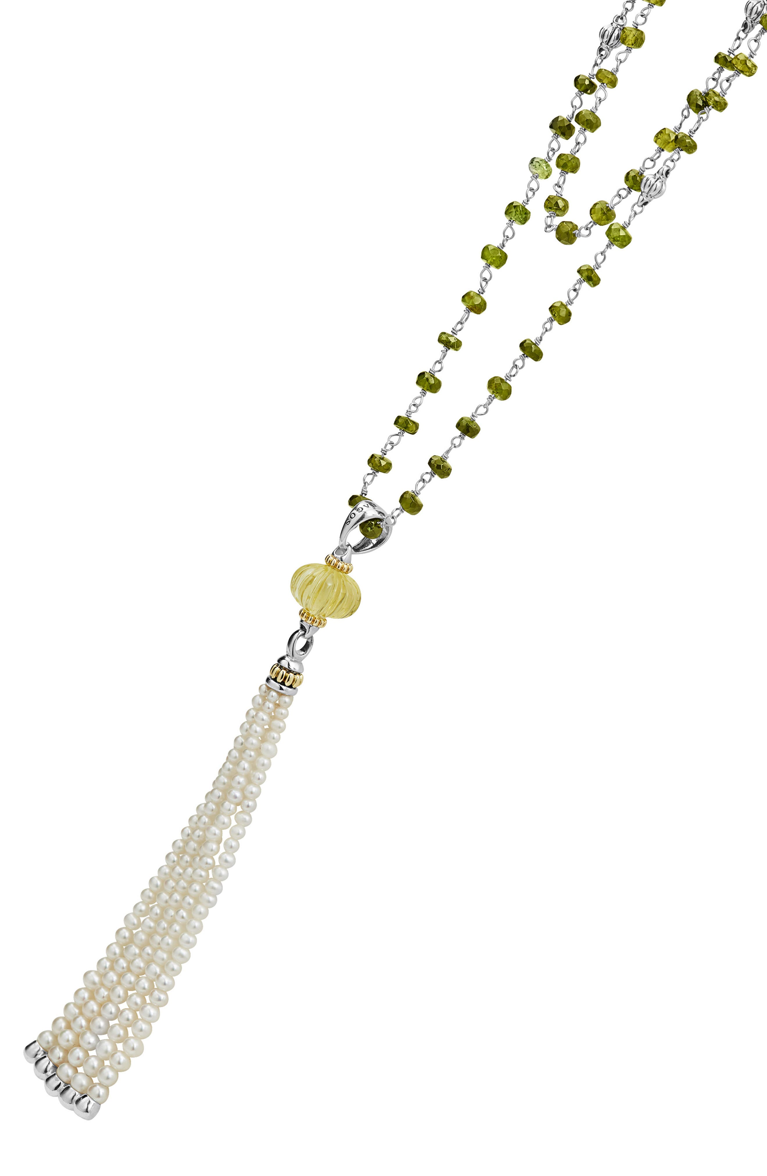 Caviar Forever Gemstone Tassel Pendant Necklace,                             Alternate thumbnail 2, color,                             Silver/ Olive Quartz